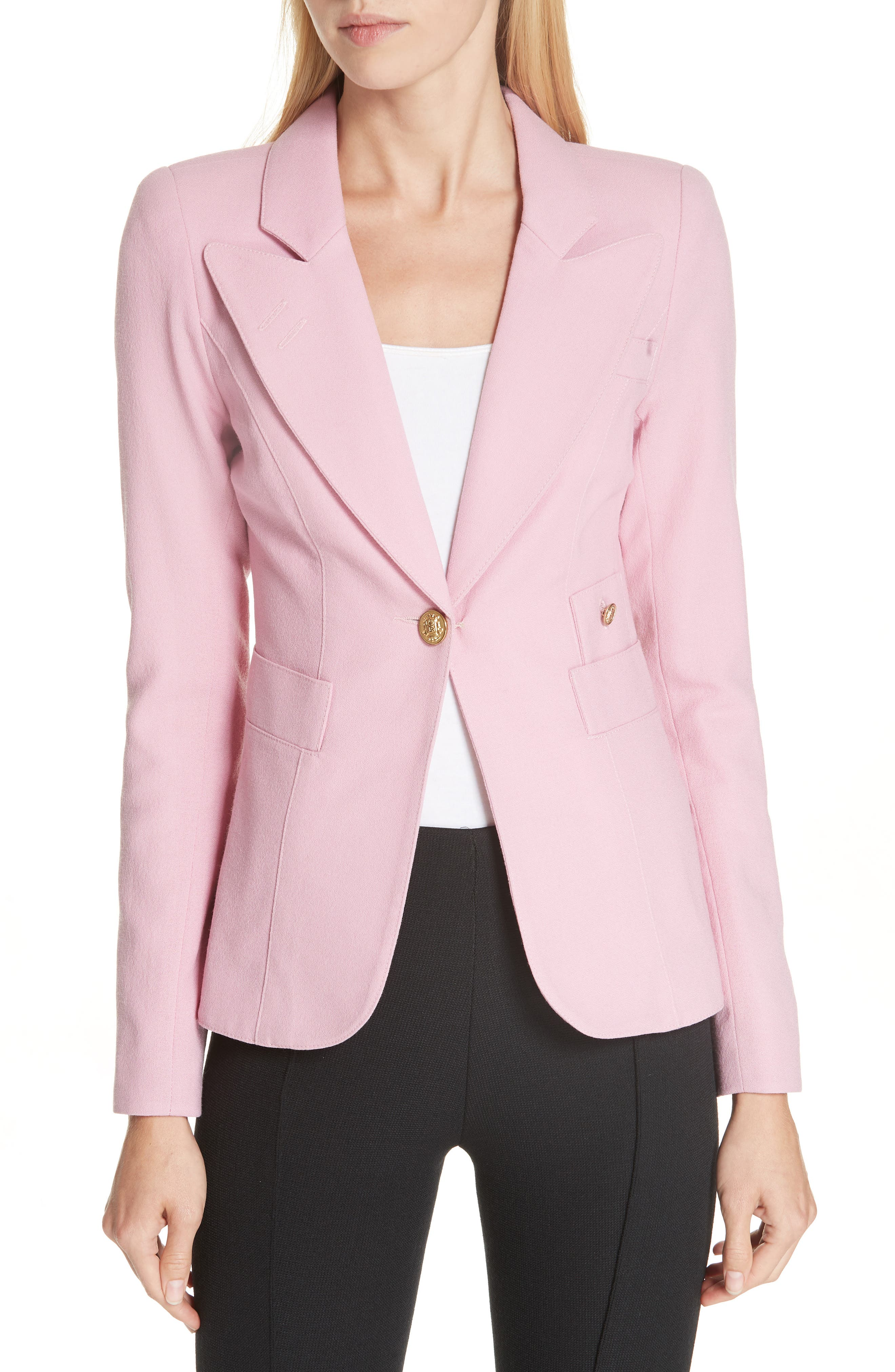 Classic Duchess Blazer,                             Main thumbnail 1, color,                             RETHINK PINK