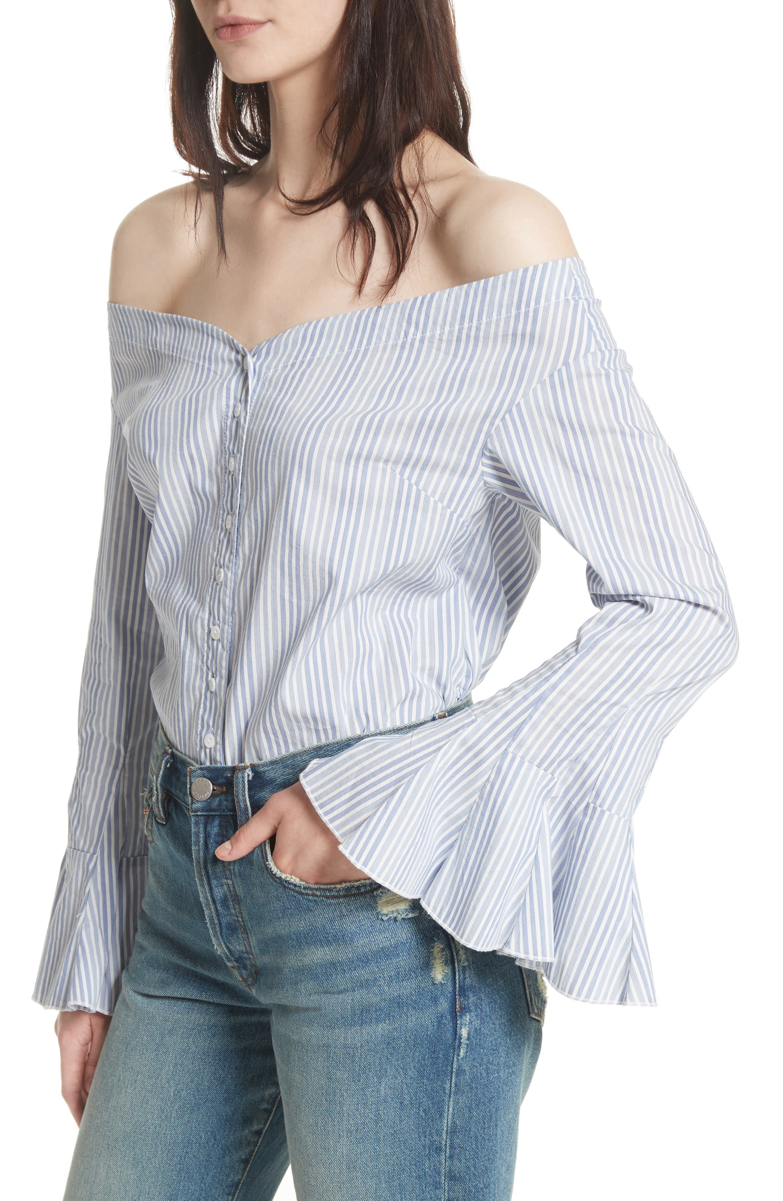 March to the Beat Off the Shoulder Top,                             Alternate thumbnail 8, color,