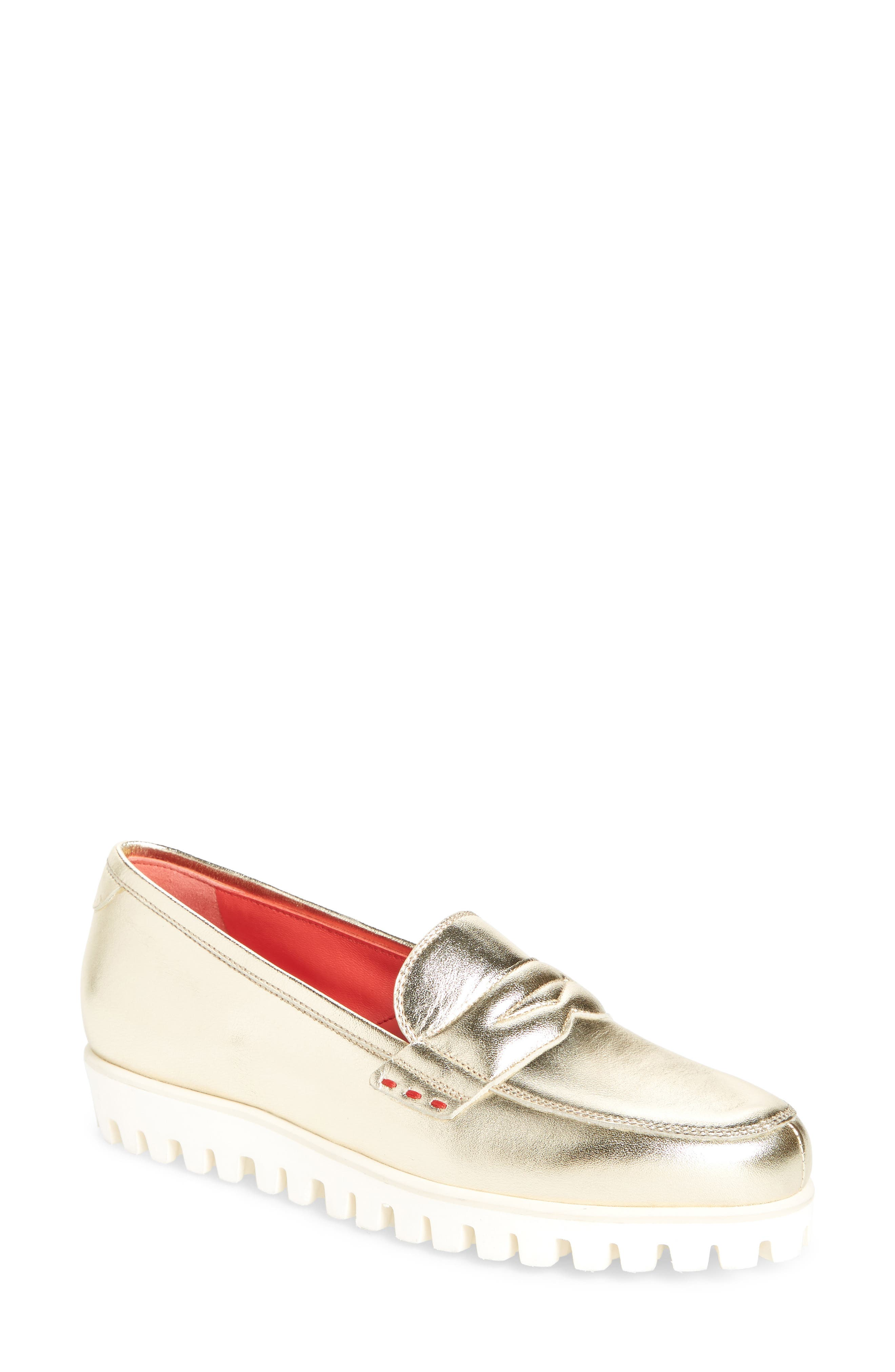 Marta Loafer,                             Main thumbnail 1, color,                             GOLD LEATHER