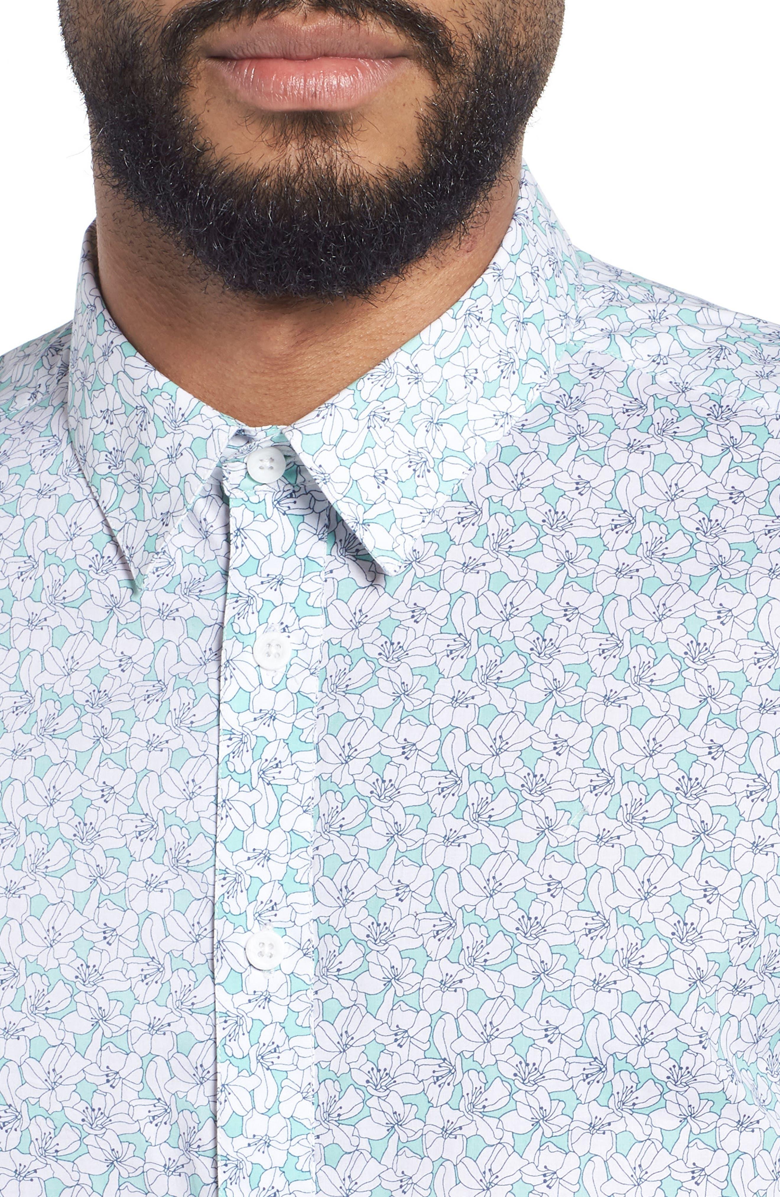 Slim Flit Floral Woven Shirt,                             Alternate thumbnail 4, color,                             332