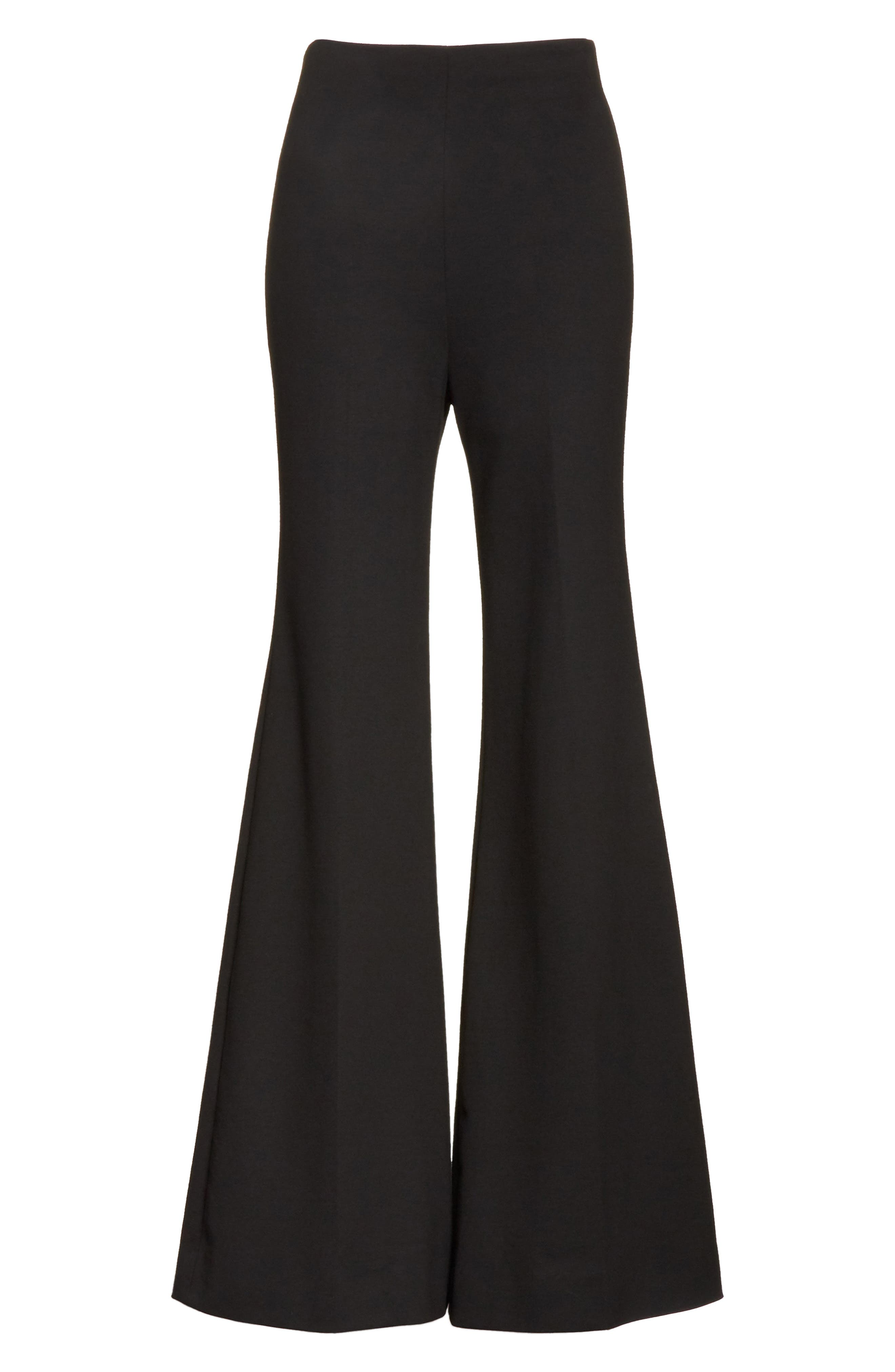 Jersey Flare Pants,                             Alternate thumbnail 7, color,                             BLACK