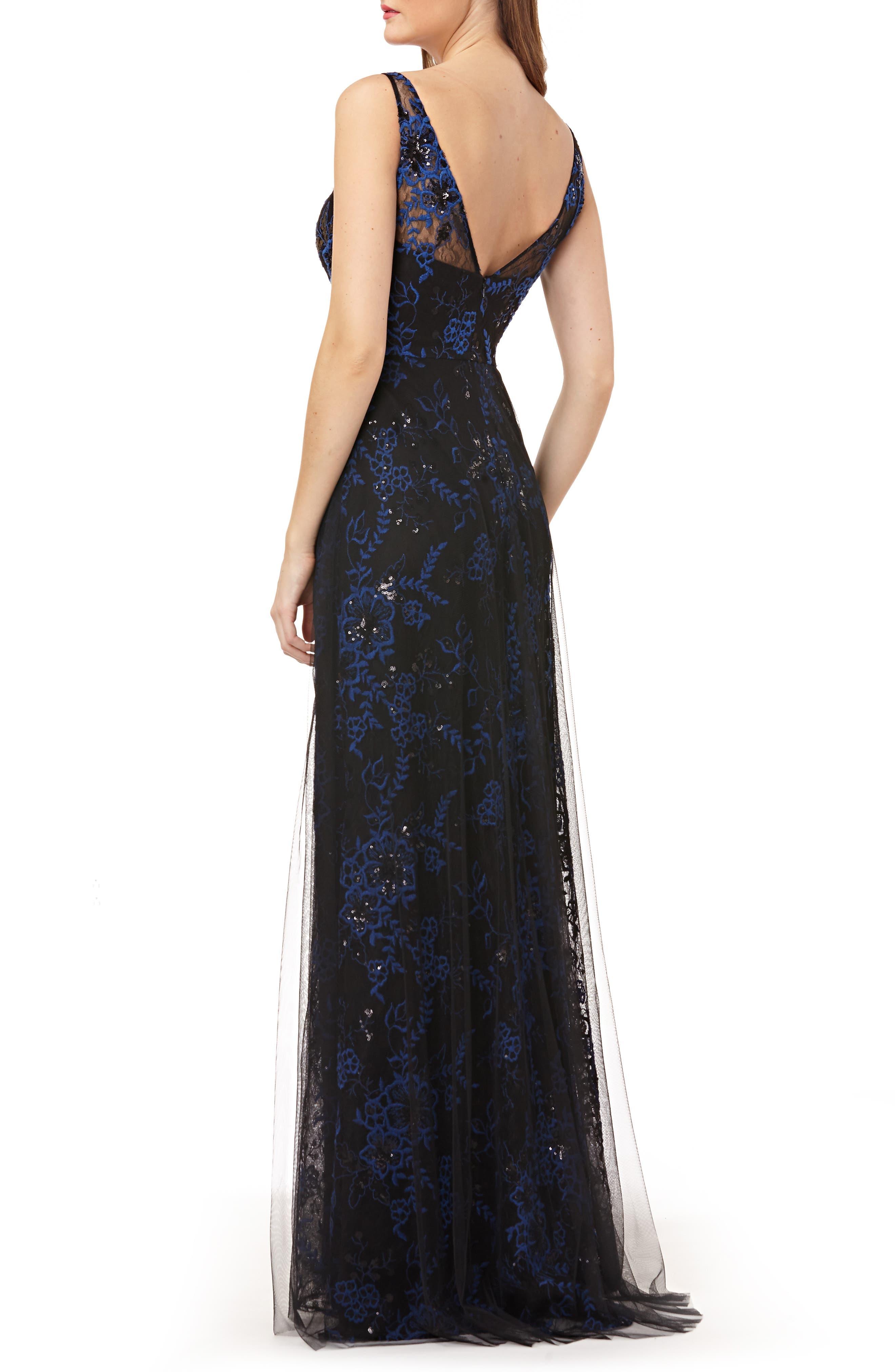 CARMEN MARC VALVO INFUSION,                             Sequin Threadwork Gown,                             Alternate thumbnail 2, color,                             COBALT/ BLACK