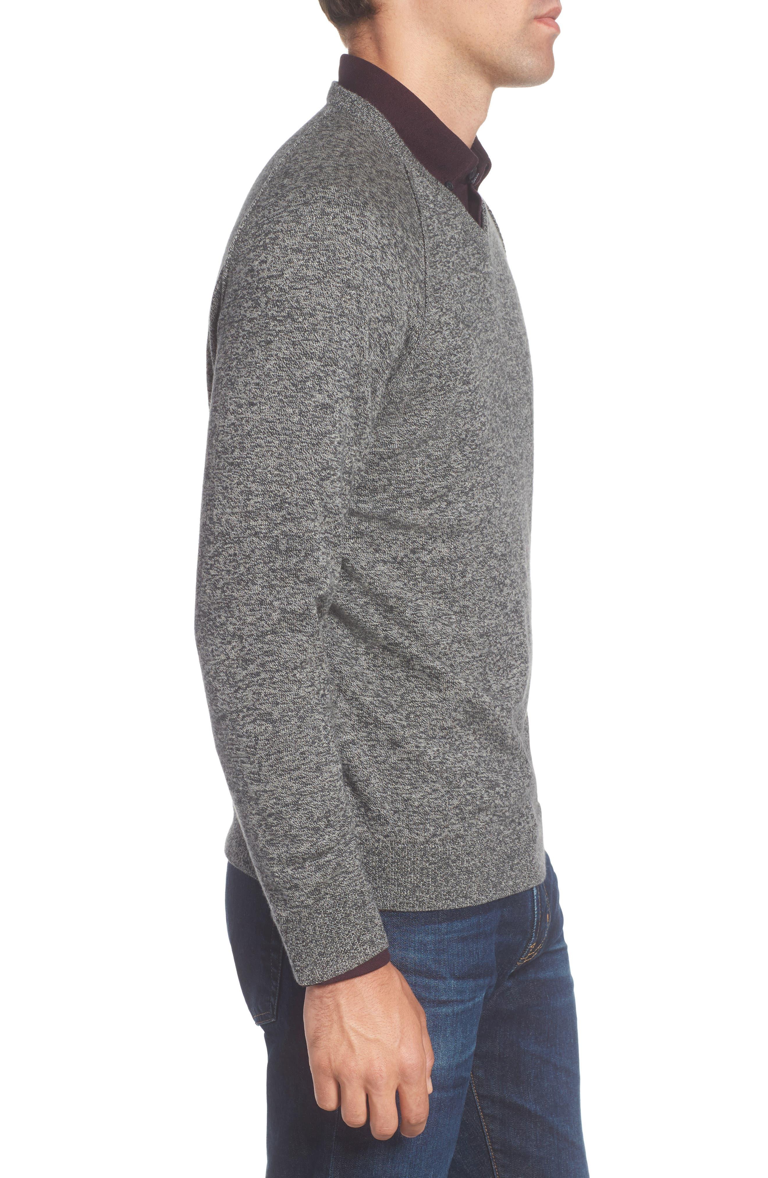 Saddle Shoulder Cotton & Cashmere V-Neck Sweater,                             Alternate thumbnail 18, color,
