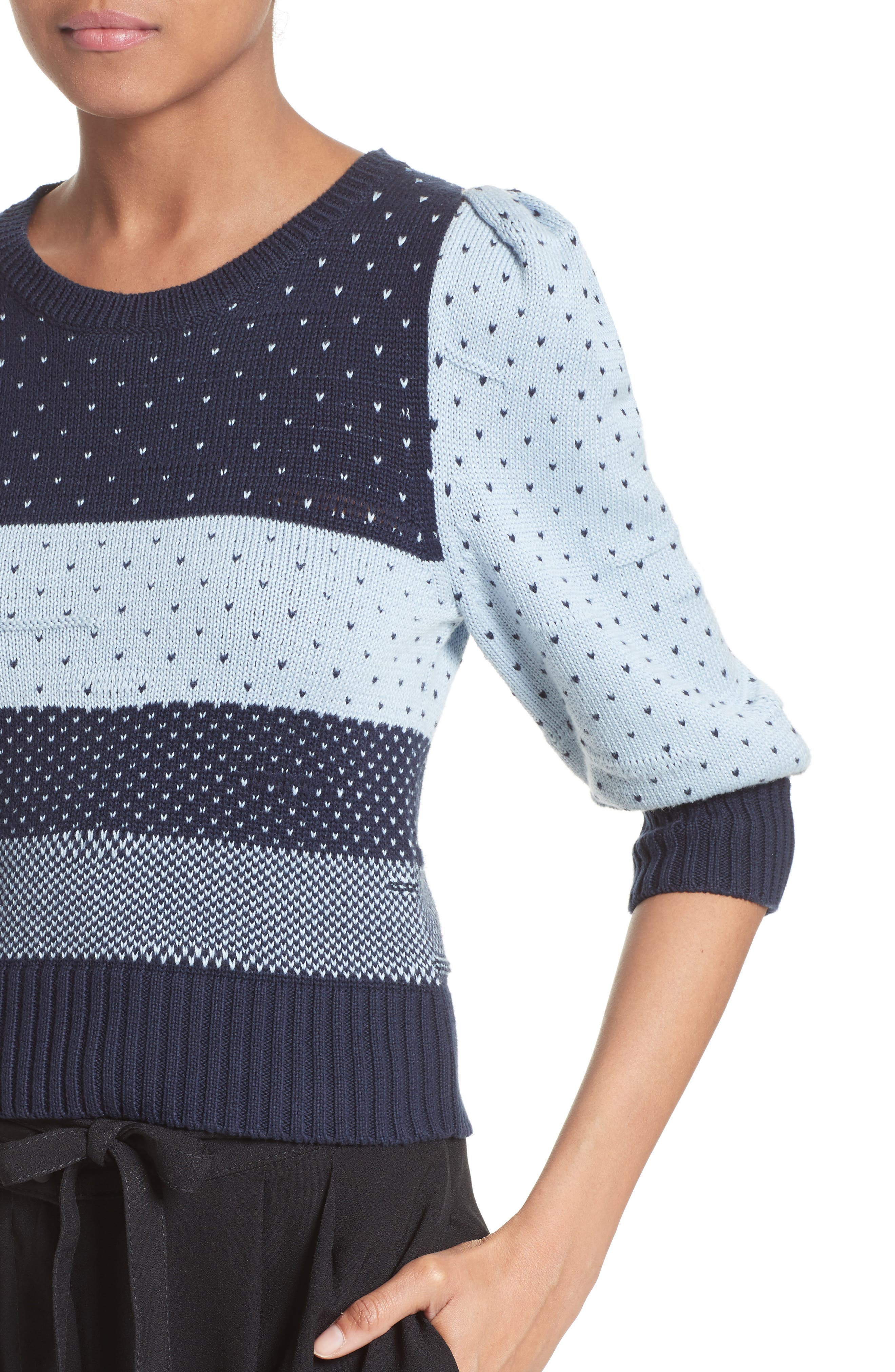 Cotton Jacquard Sweater,                             Alternate thumbnail 4, color,                             411
