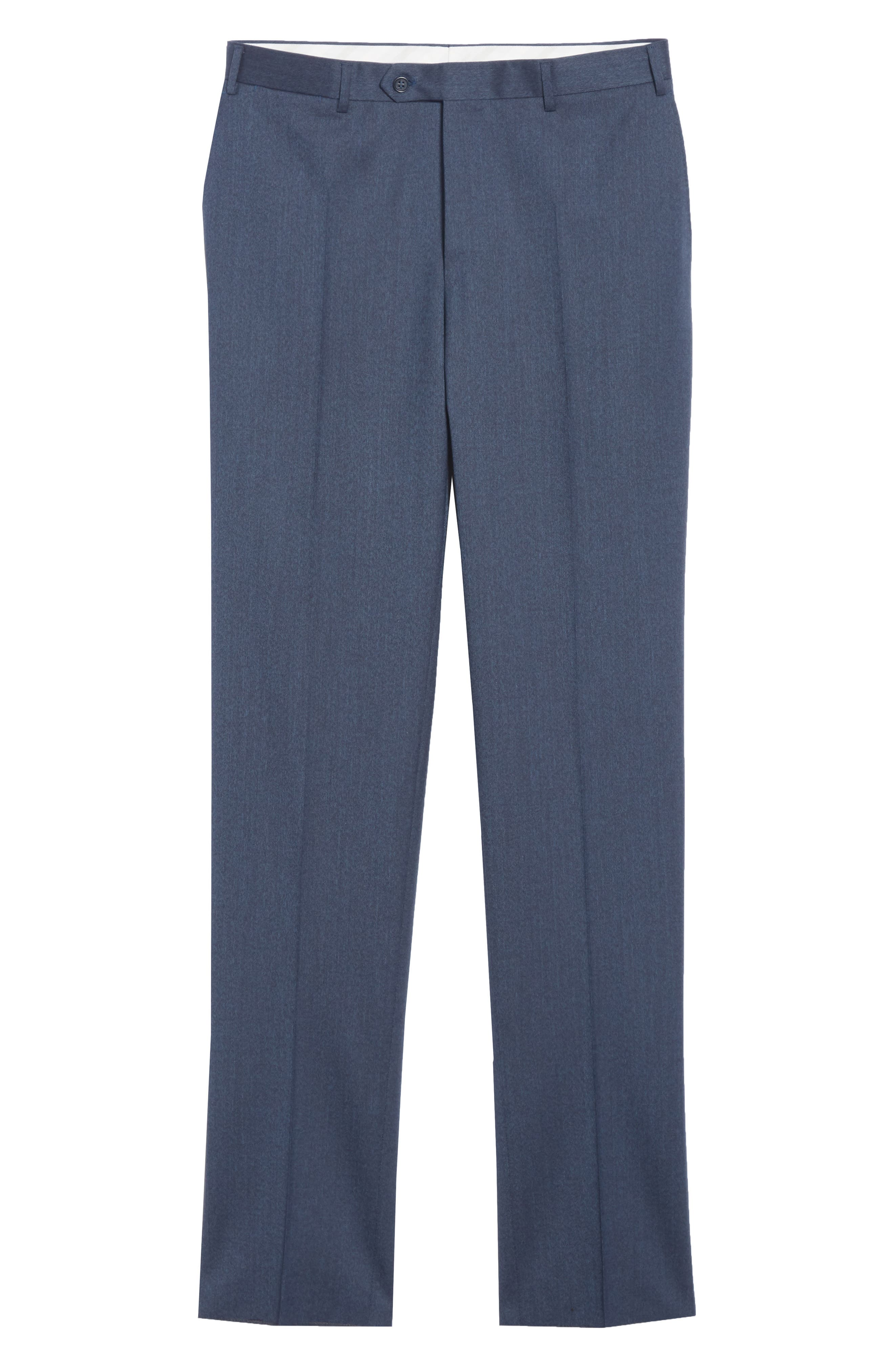 Cavaltry Flat Front Solid Stretch Wool Trousers,                             Alternate thumbnail 6, color,                             DARK BLUE