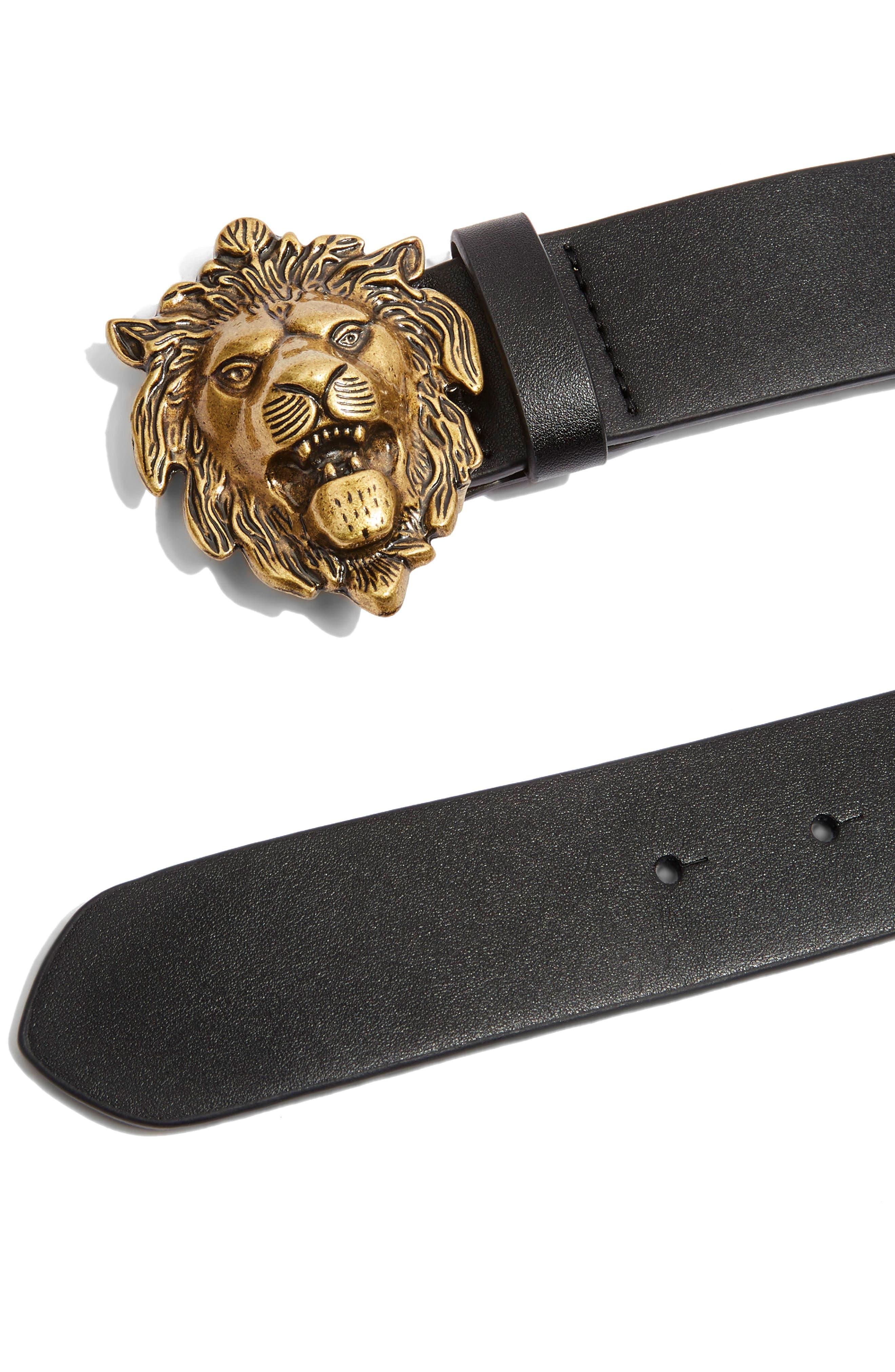 Lion Head Belt,                             Main thumbnail 1, color,                             001