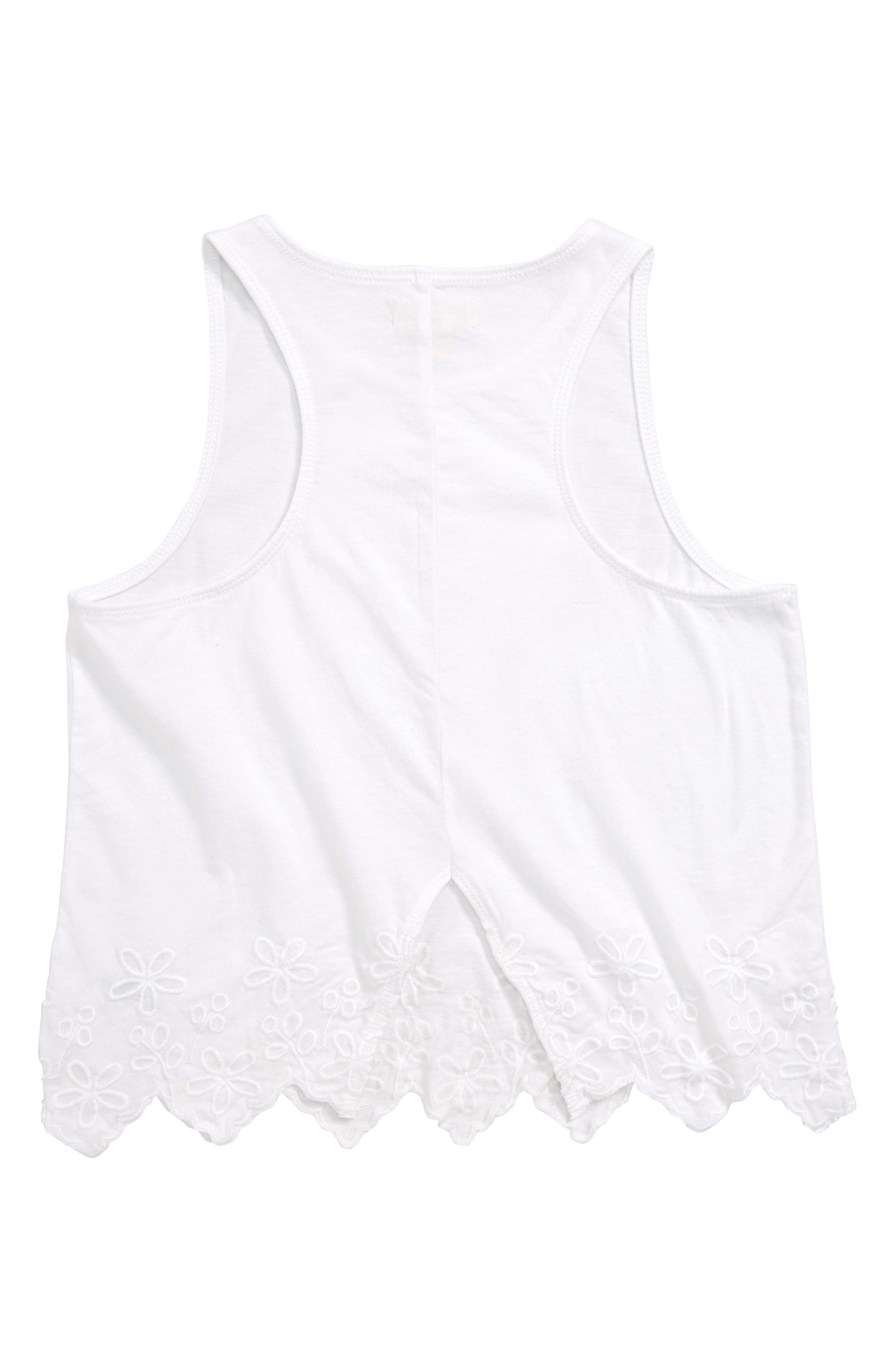Scallop Edge Tank,                             Alternate thumbnail 2, color,                             WHITE