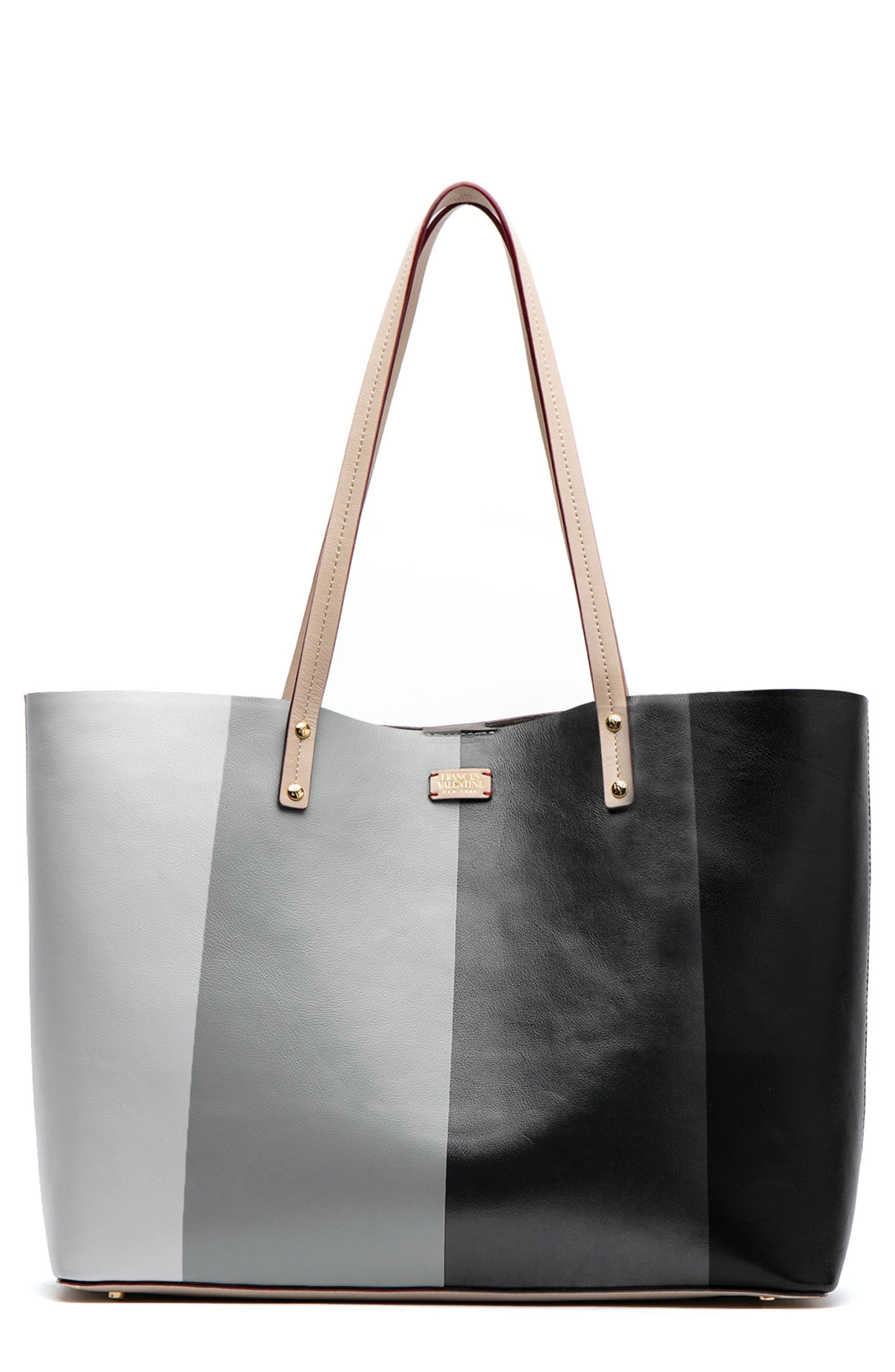 FRANCES VALENTINE Trixie Leather Tote in Gradient Grey