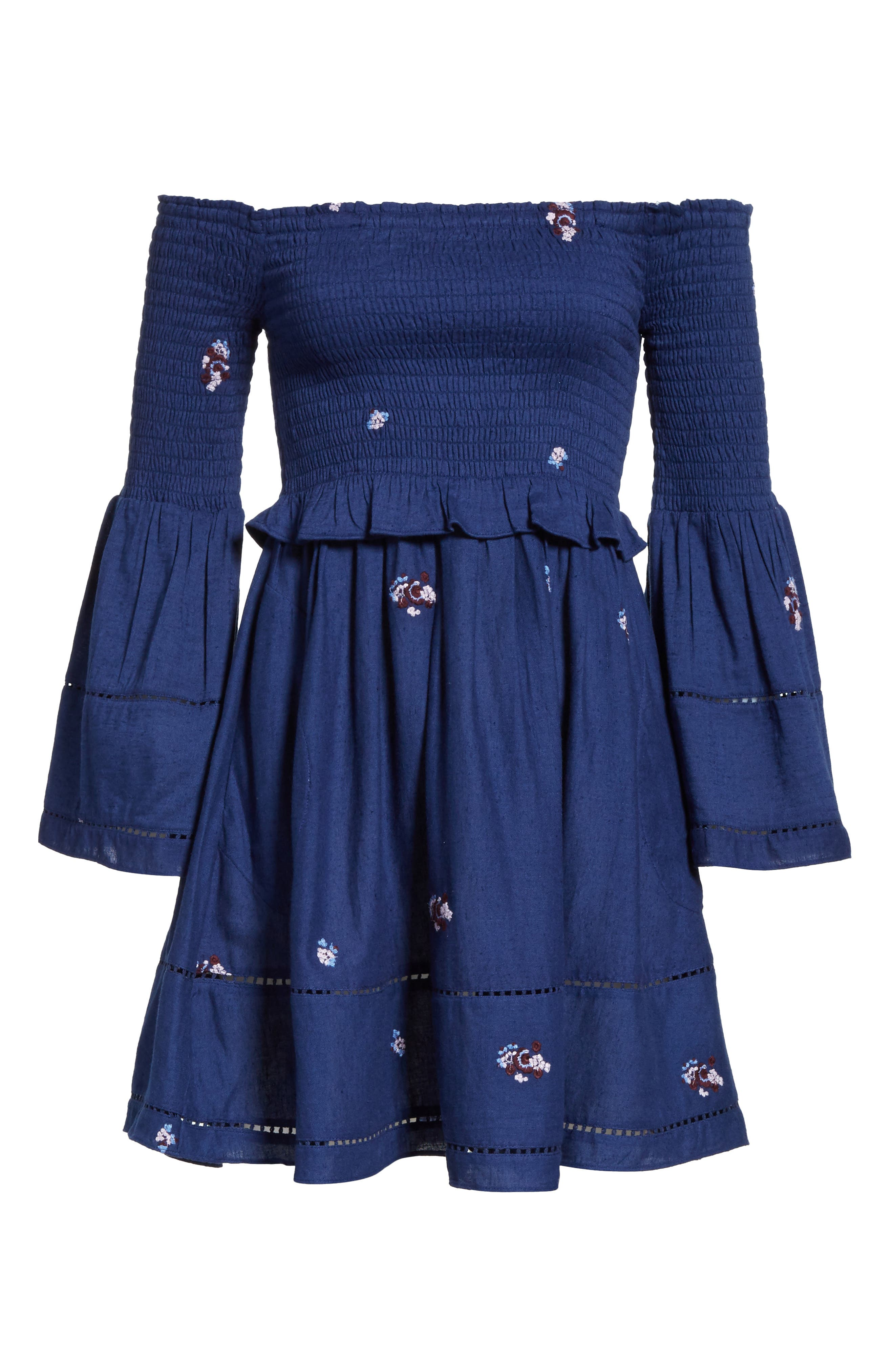 Counting Daisies Embroidered Off the Shoulder Dress,                             Alternate thumbnail 7, color,                             400