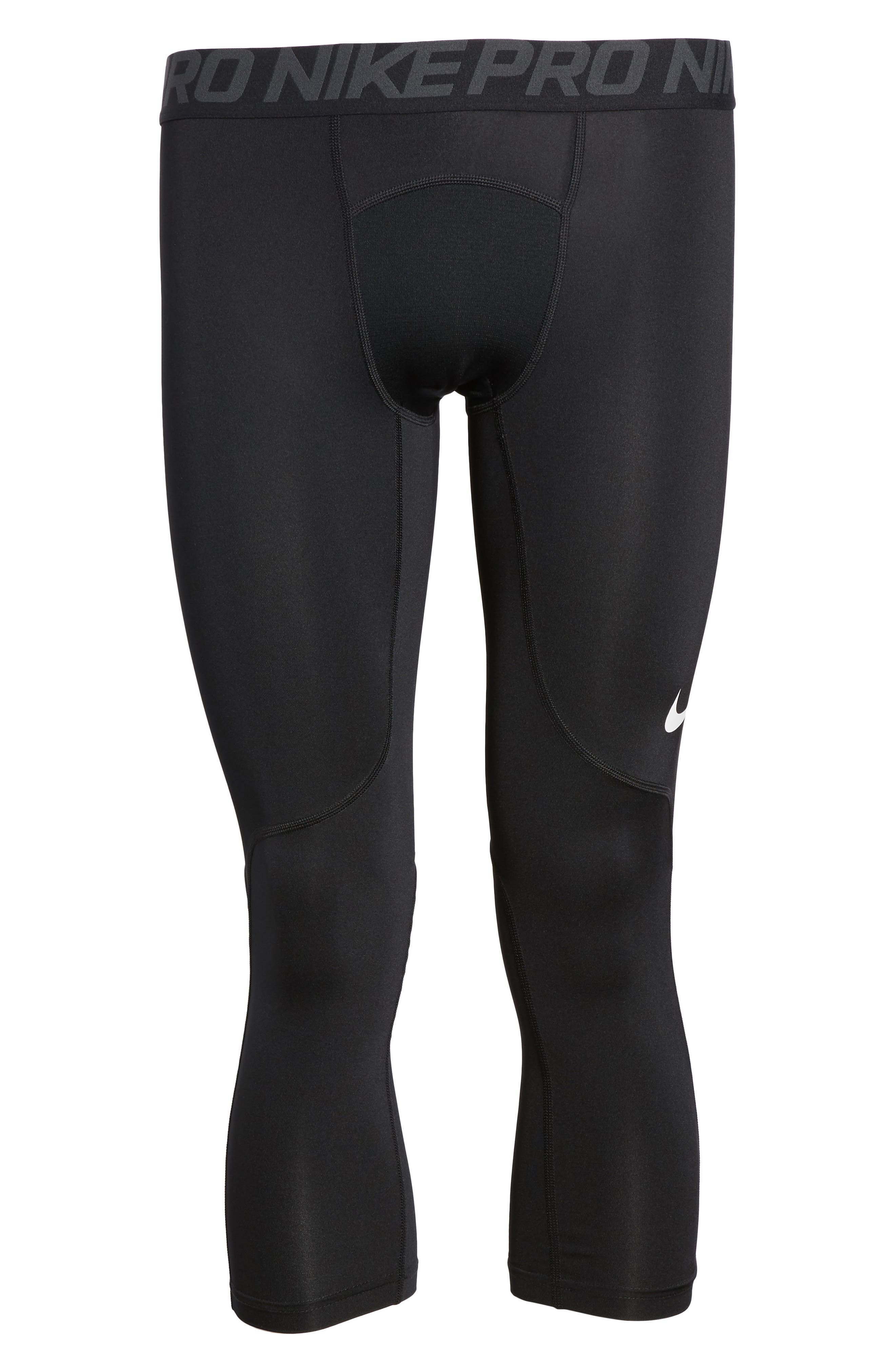 Pro Three Quarter Training Tights,                             Alternate thumbnail 6, color,                             BLACK/ ANTHRACITE/ WHITE