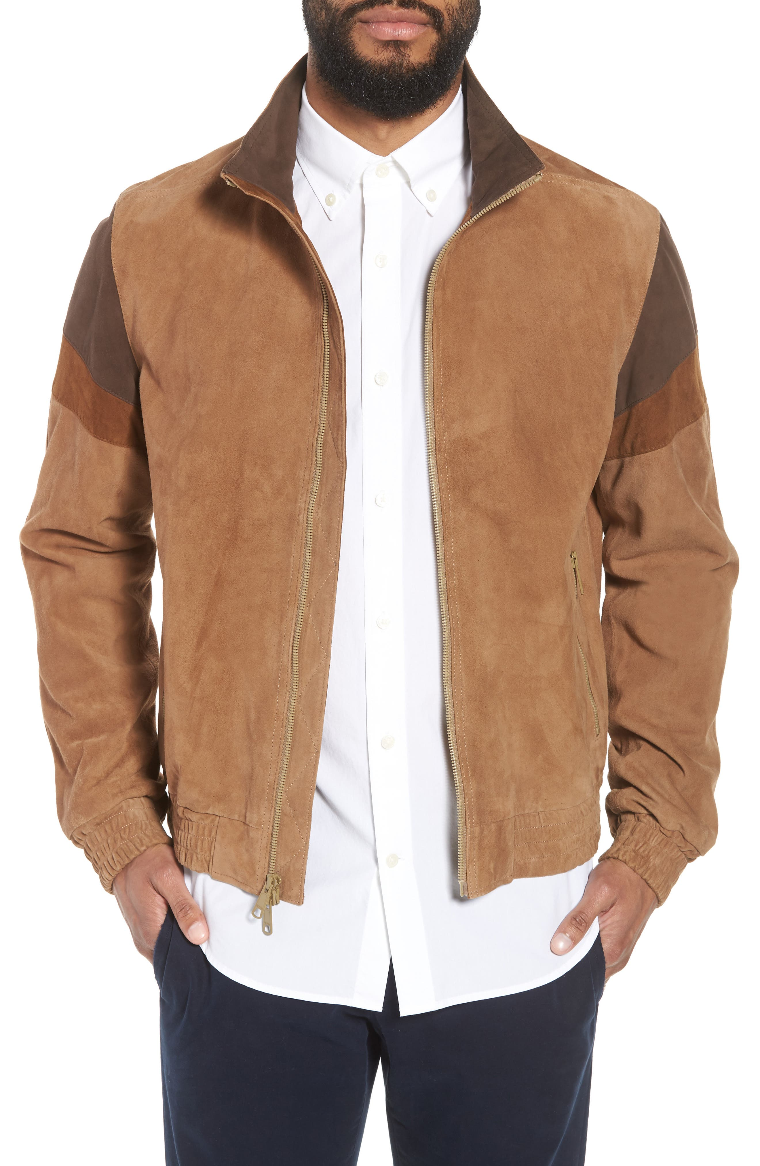 Colorblock Leather Track Jacket,                             Main thumbnail 1, color,                             250