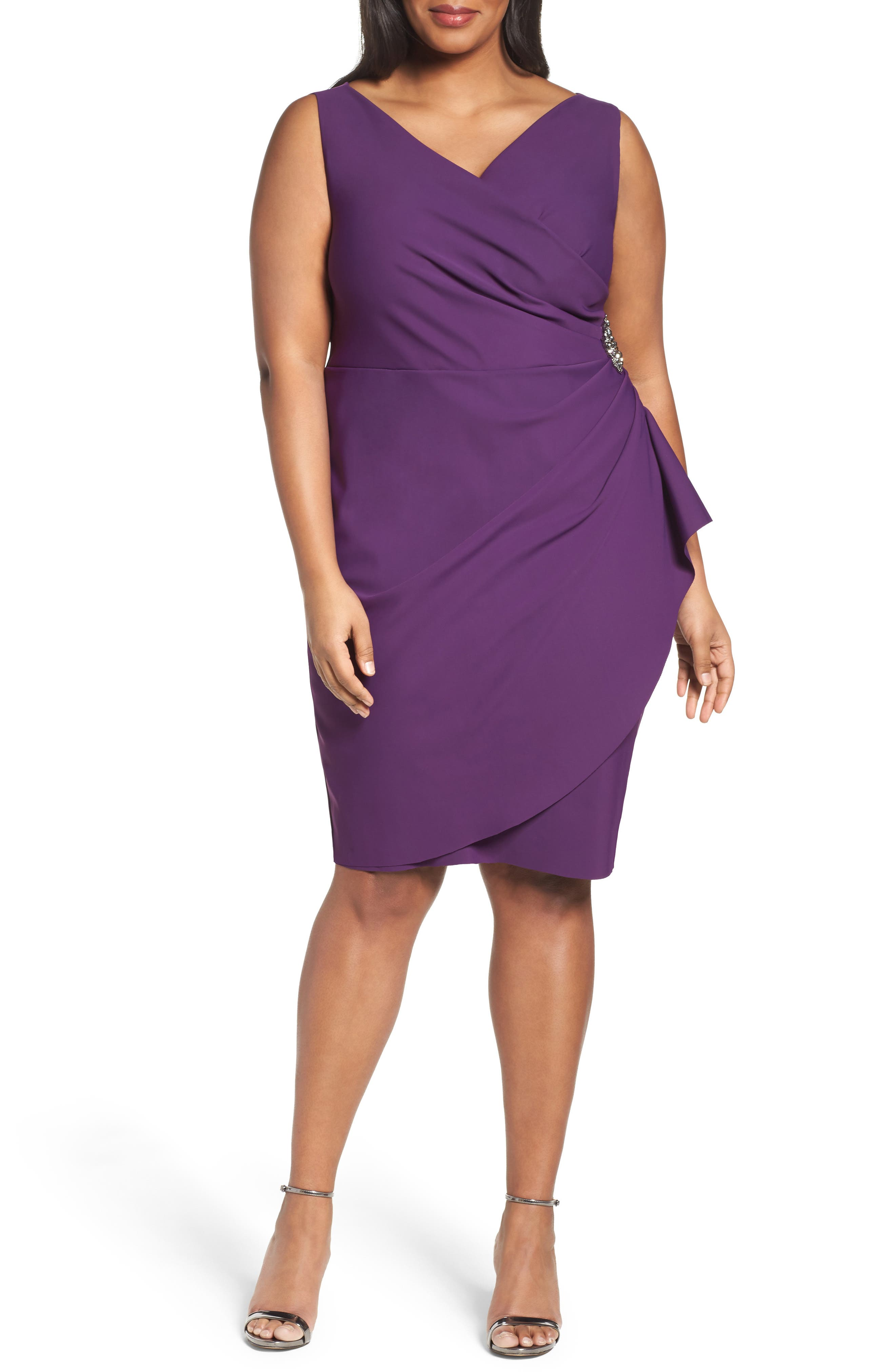 Embellished Surplice Sheath Dress,                             Main thumbnail 6, color,