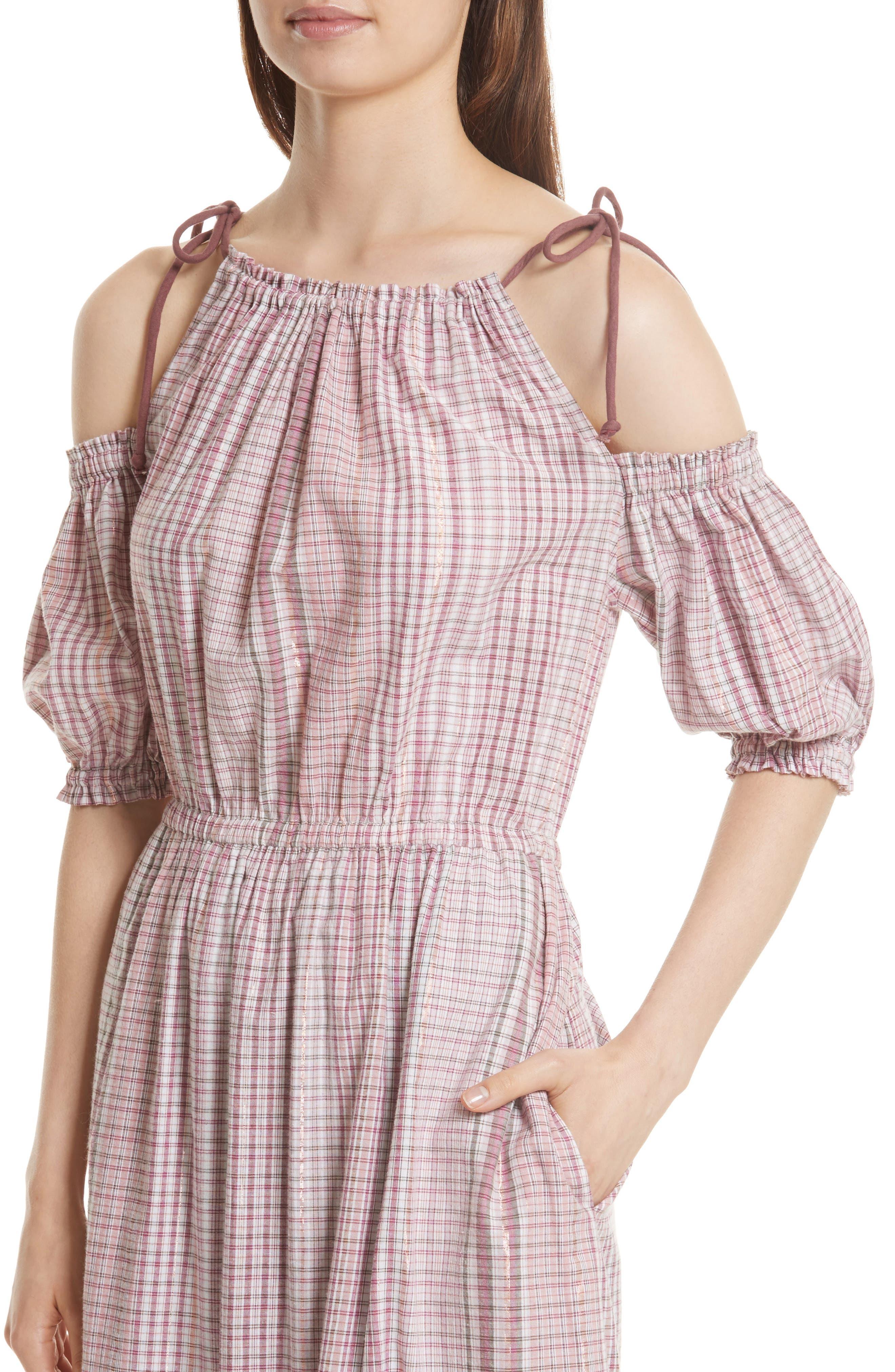 Cold Shoulder Lurex<sup>®</sup> Plaid Midi Dress,                             Alternate thumbnail 4, color,                             699