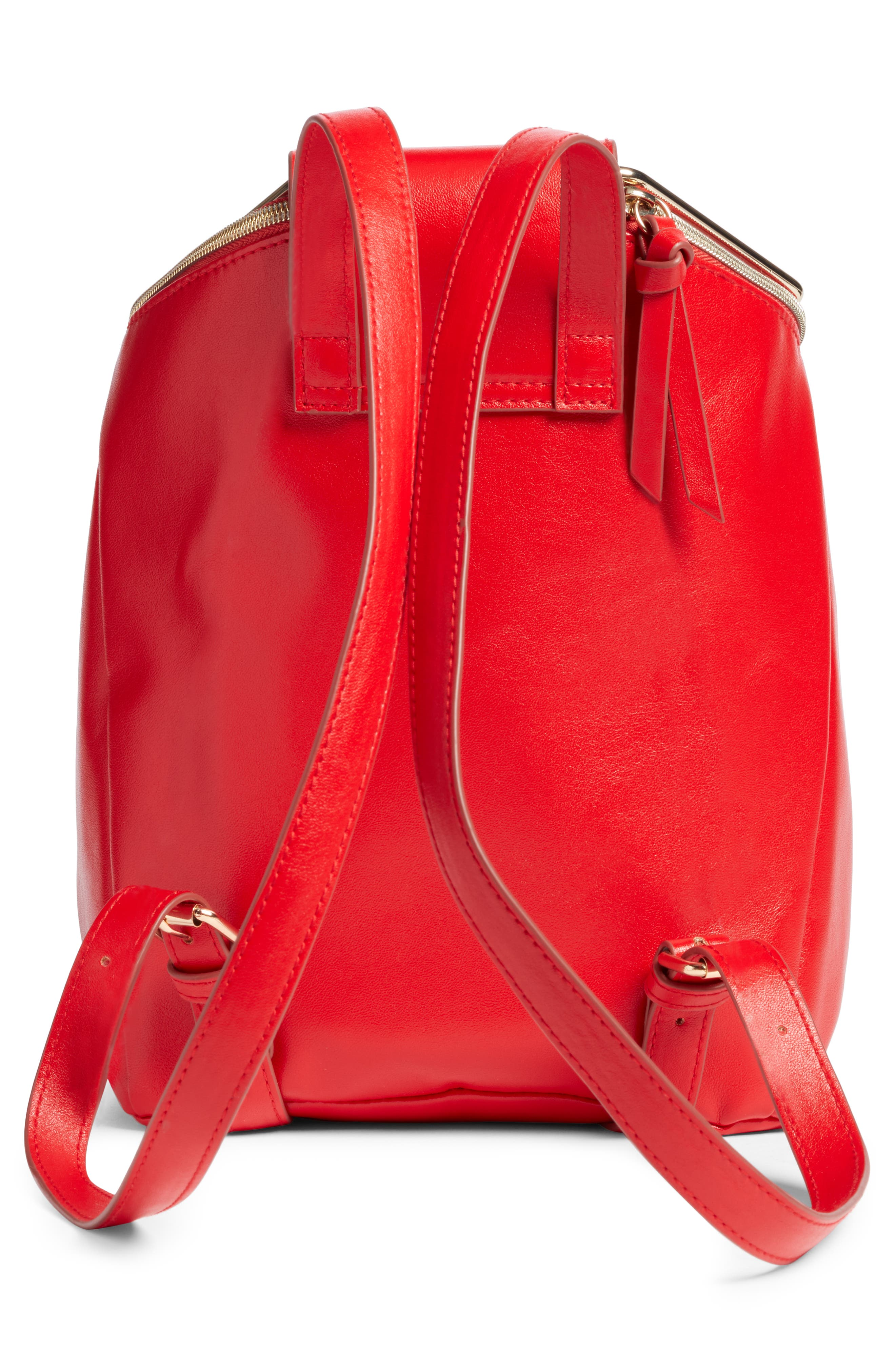 Metal Handle Faux Leather Convertible Backpack,                             Alternate thumbnail 4, color,                             600