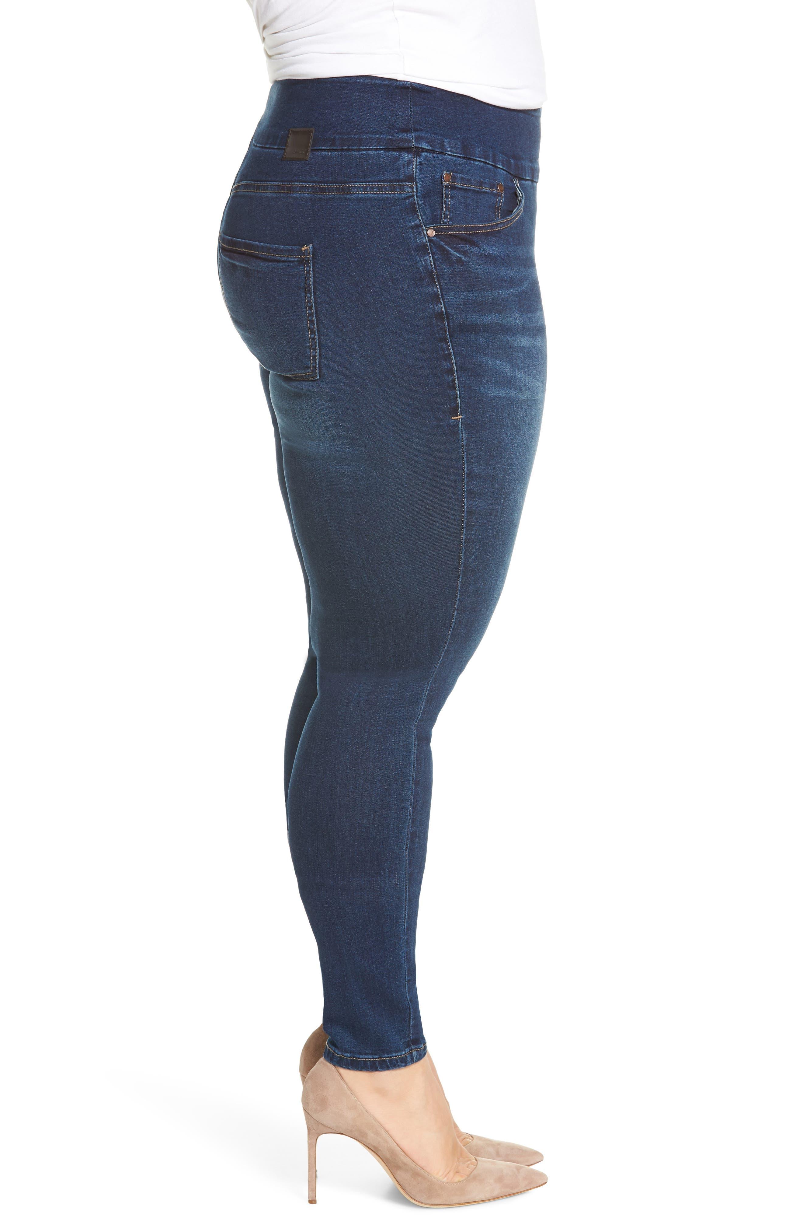 Nora Stretch Skinny Jeans,                             Alternate thumbnail 3, color,                             MED INDIGO