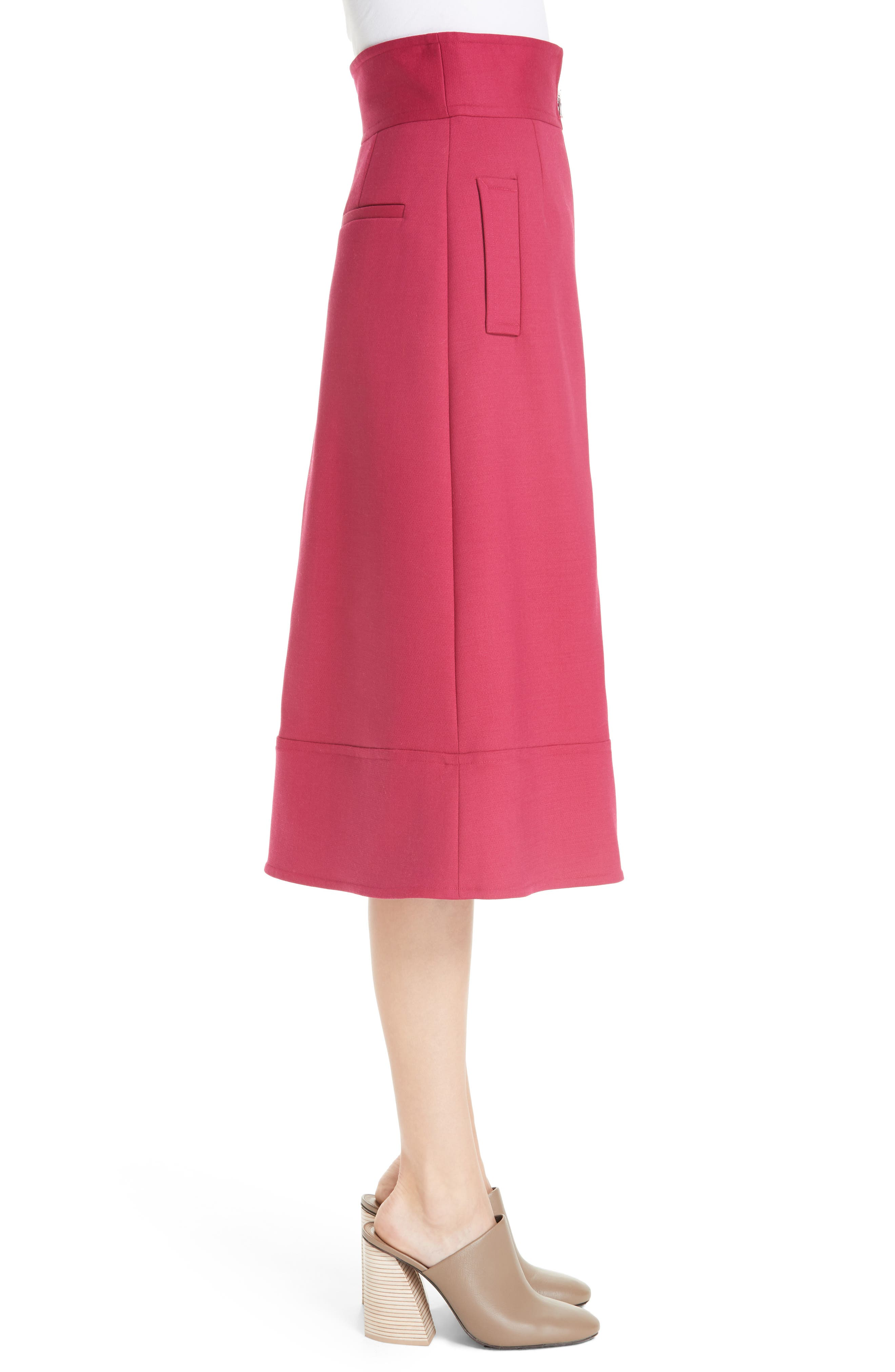Zip Front A-Line Skirt,                             Alternate thumbnail 3, color,                             FUCHSIA