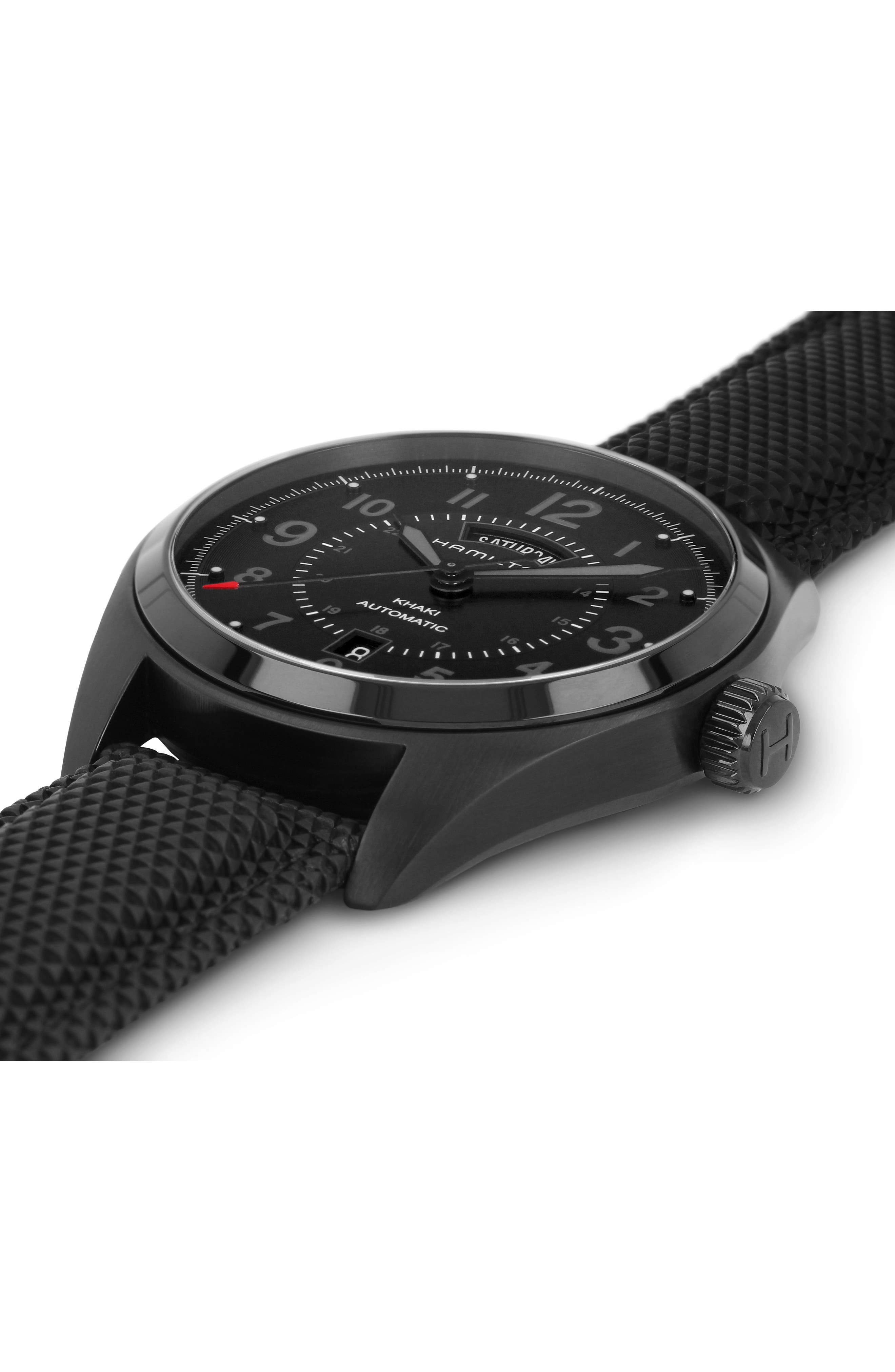 Khaki Field Automatic Silicone Strap Watch, 42mm,                             Alternate thumbnail 3, color,                             BLACK