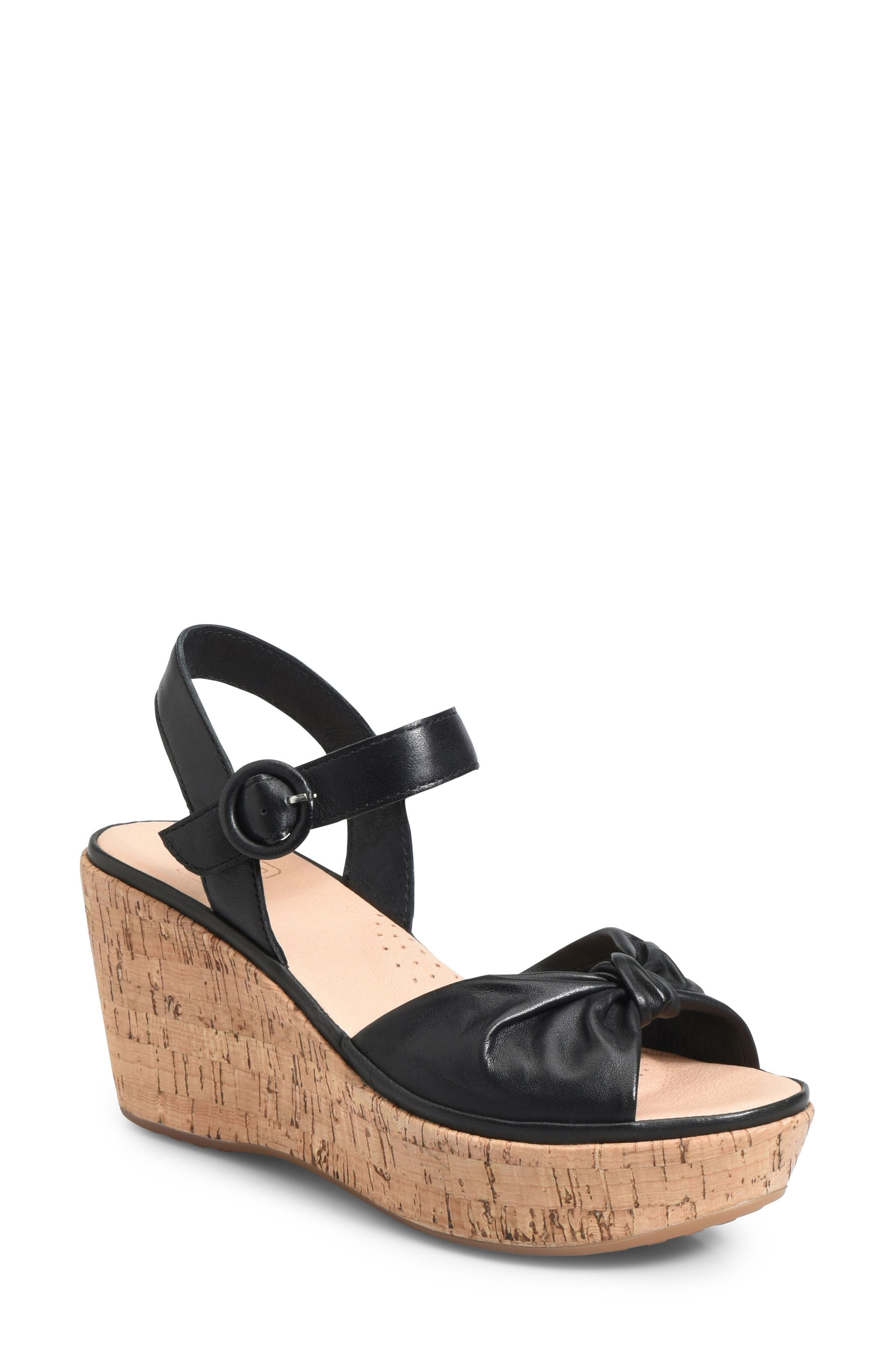 Heavenly Platform Wedge Sandal,                         Main,                         color, BLACK LEATHER