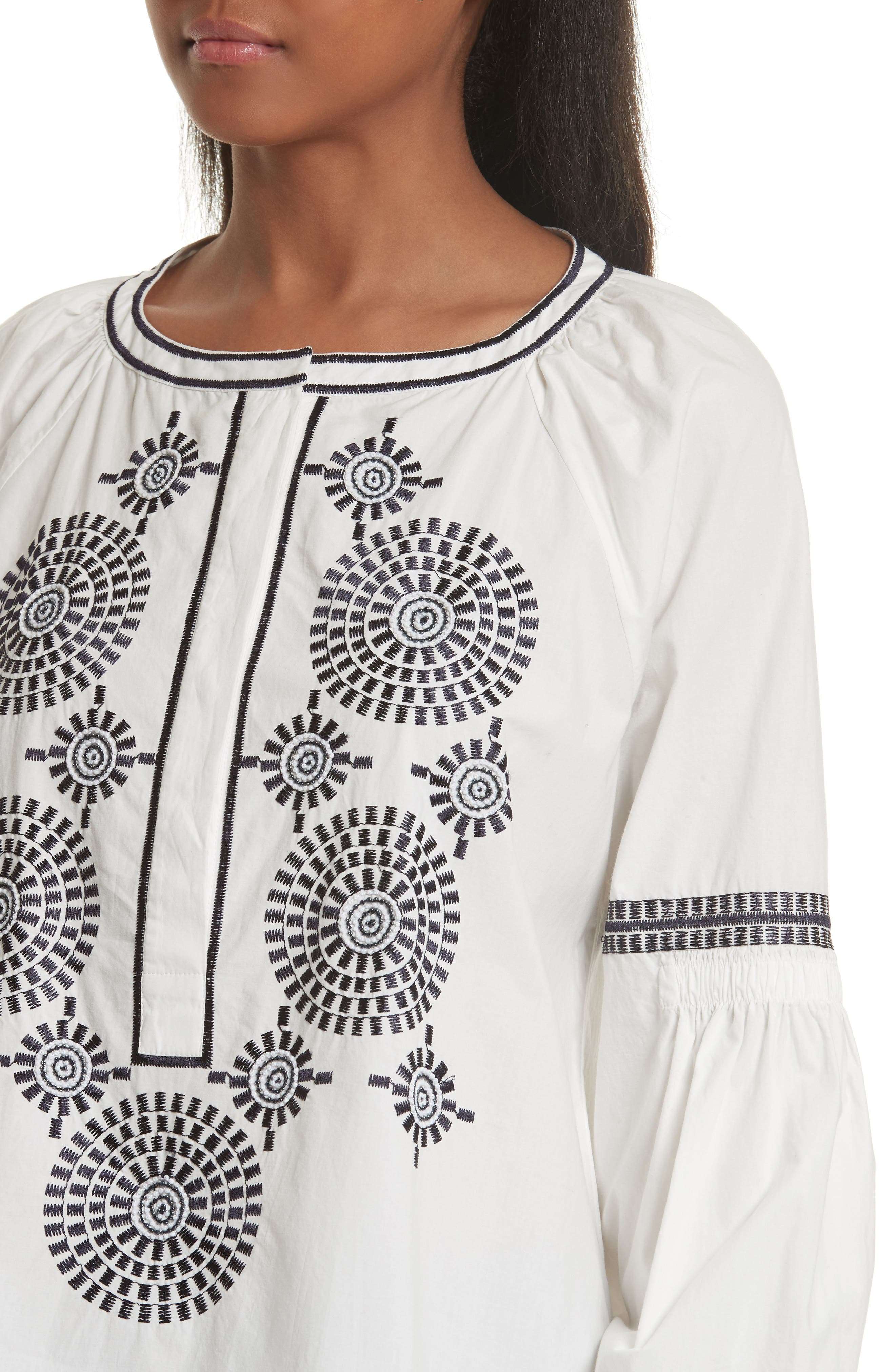Aubrey Embroidered Peasant Top,                             Alternate thumbnail 4, color,                             904