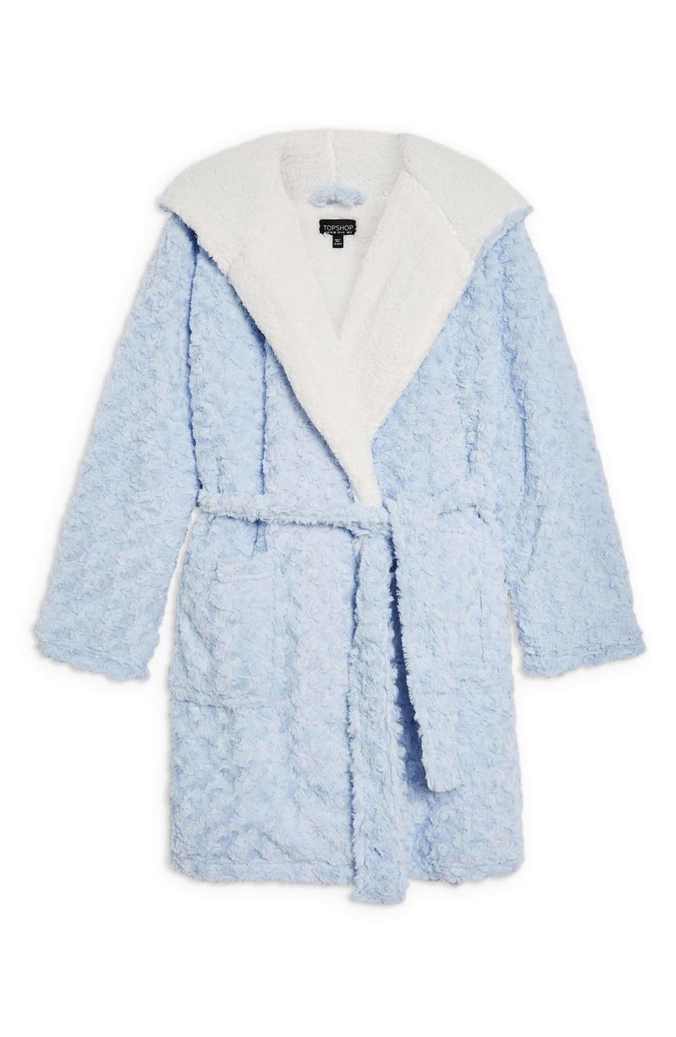 Fluffy Faux Fur Hooded Robe,                             Alternate thumbnail 4, color,                             LIGHT BLUE