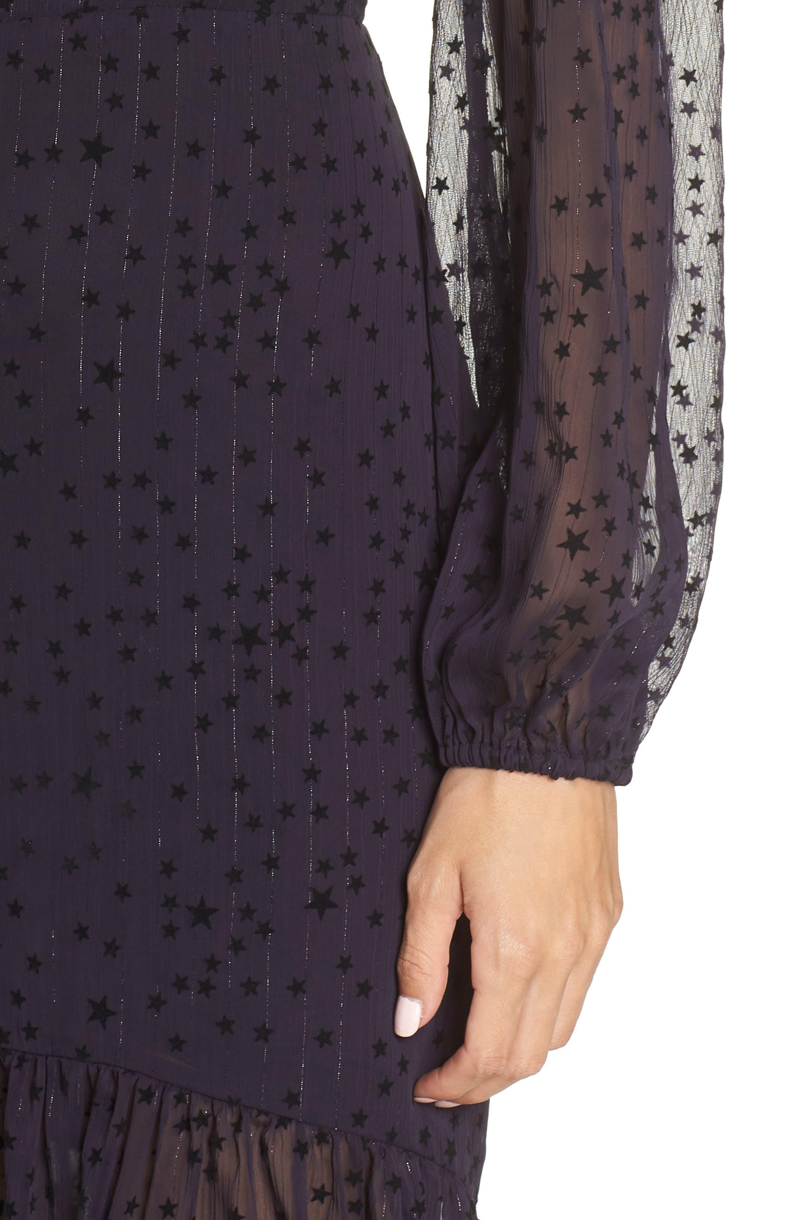AVEC LES FILLES,                             Flocked Star Ruffle Dress,                             Alternate thumbnail 4, color,                             NAVY/ BLACK