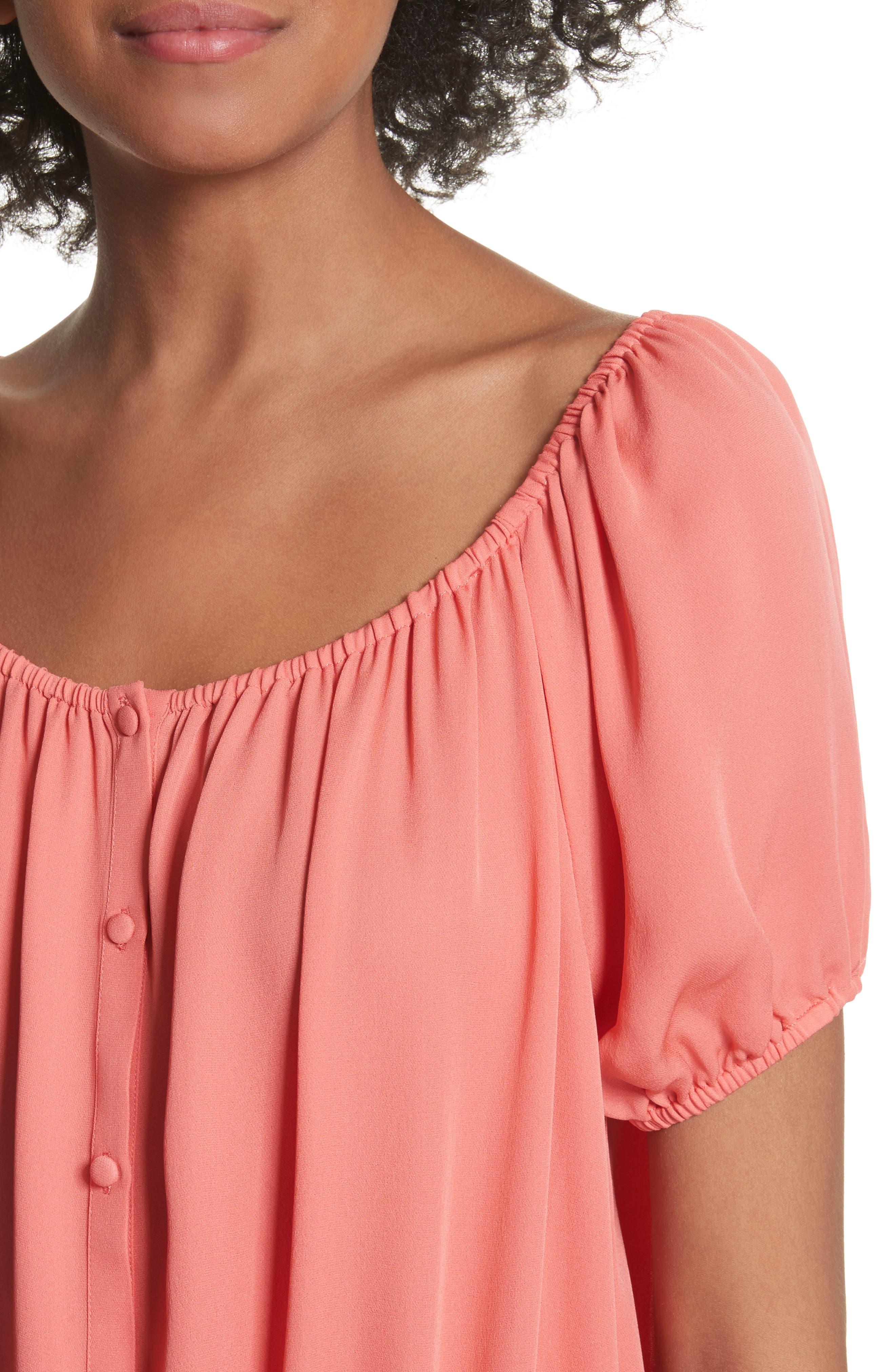 Blesina Tie Front Short Sleeve Silk Blouse,                             Alternate thumbnail 8, color,