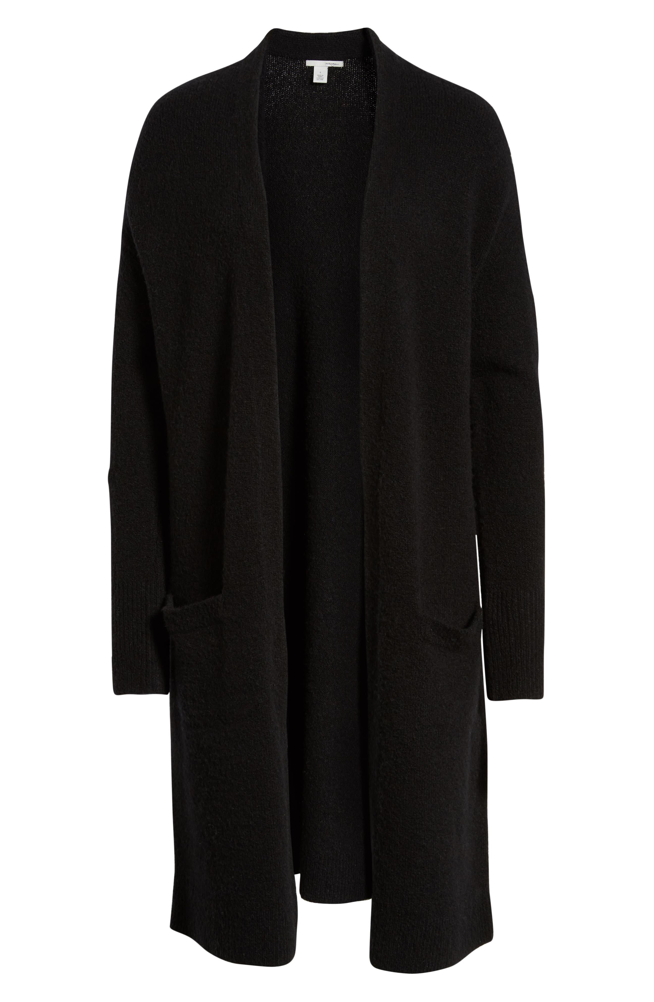 HALOGEN<SUP>®</SUP>,                             Long Open Front Cardigan,                             Alternate thumbnail 6, color,                             BLACK