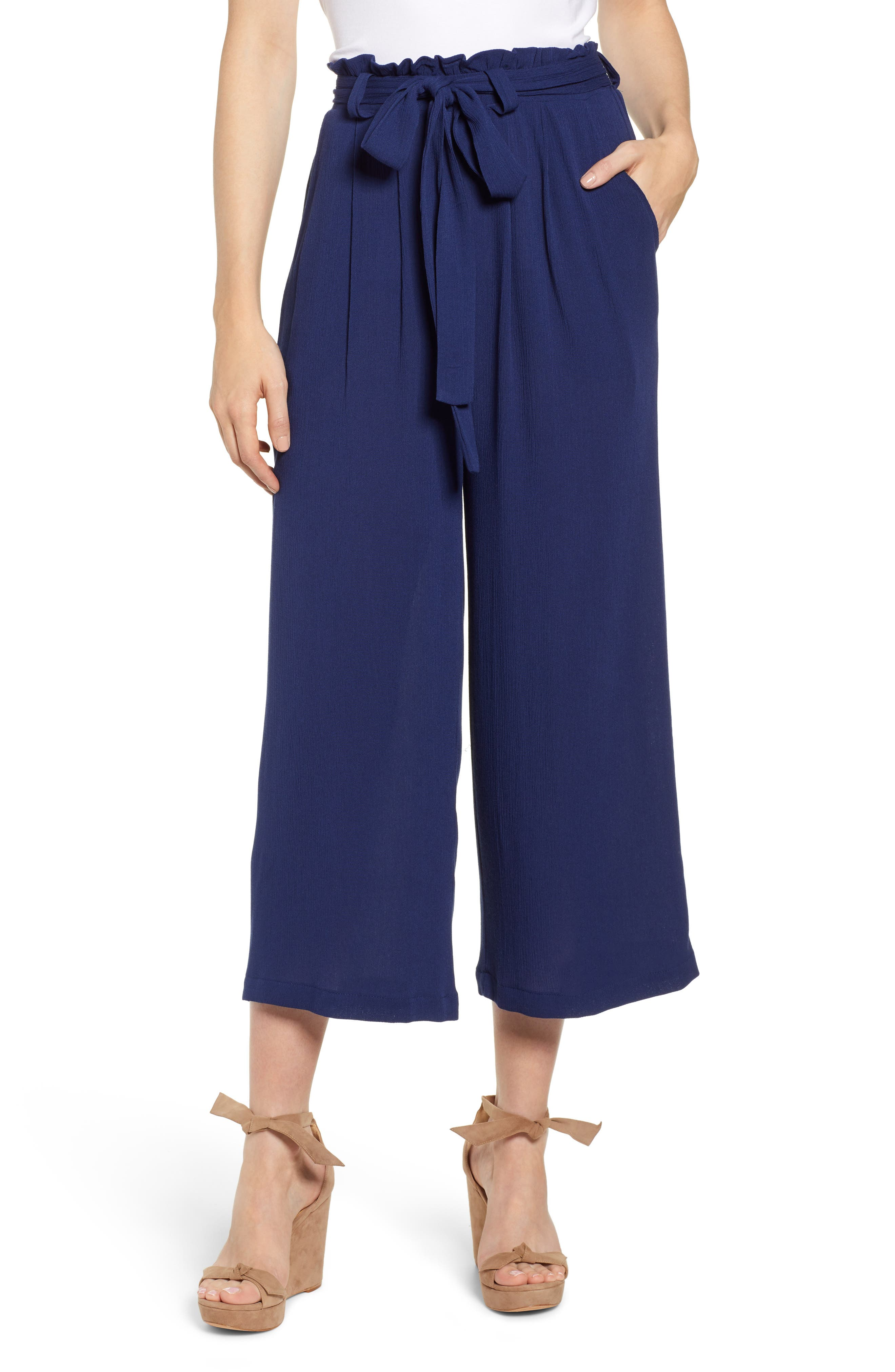 GIBSON x Hi Sugarplum! Sedona Wide Leg Ankle Pants, Main, color, CHAMBRAY SOLID