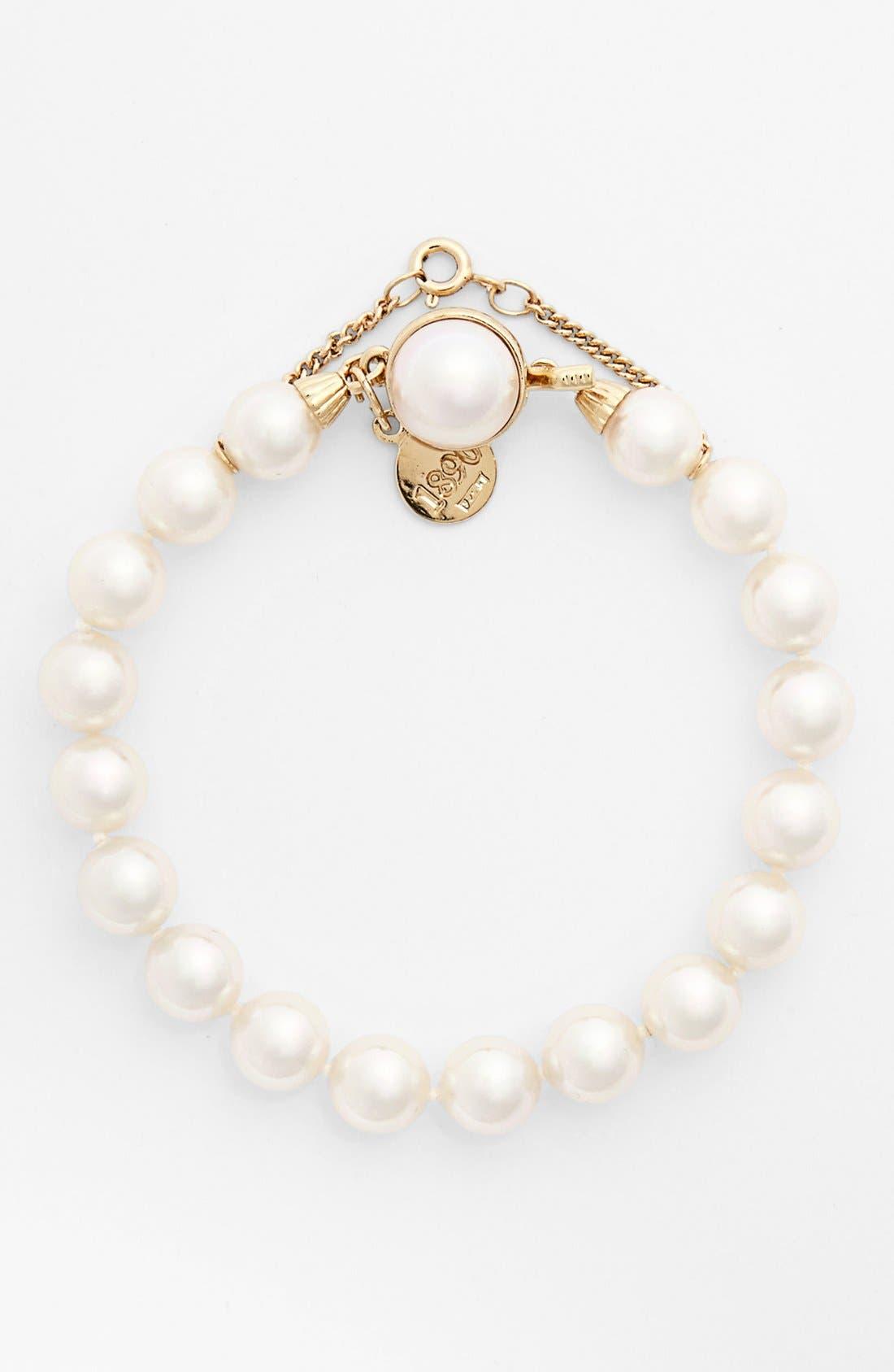 8mm Single Row Pearl Bracelet,                             Main thumbnail 1, color,                             WHITE/ GOLD