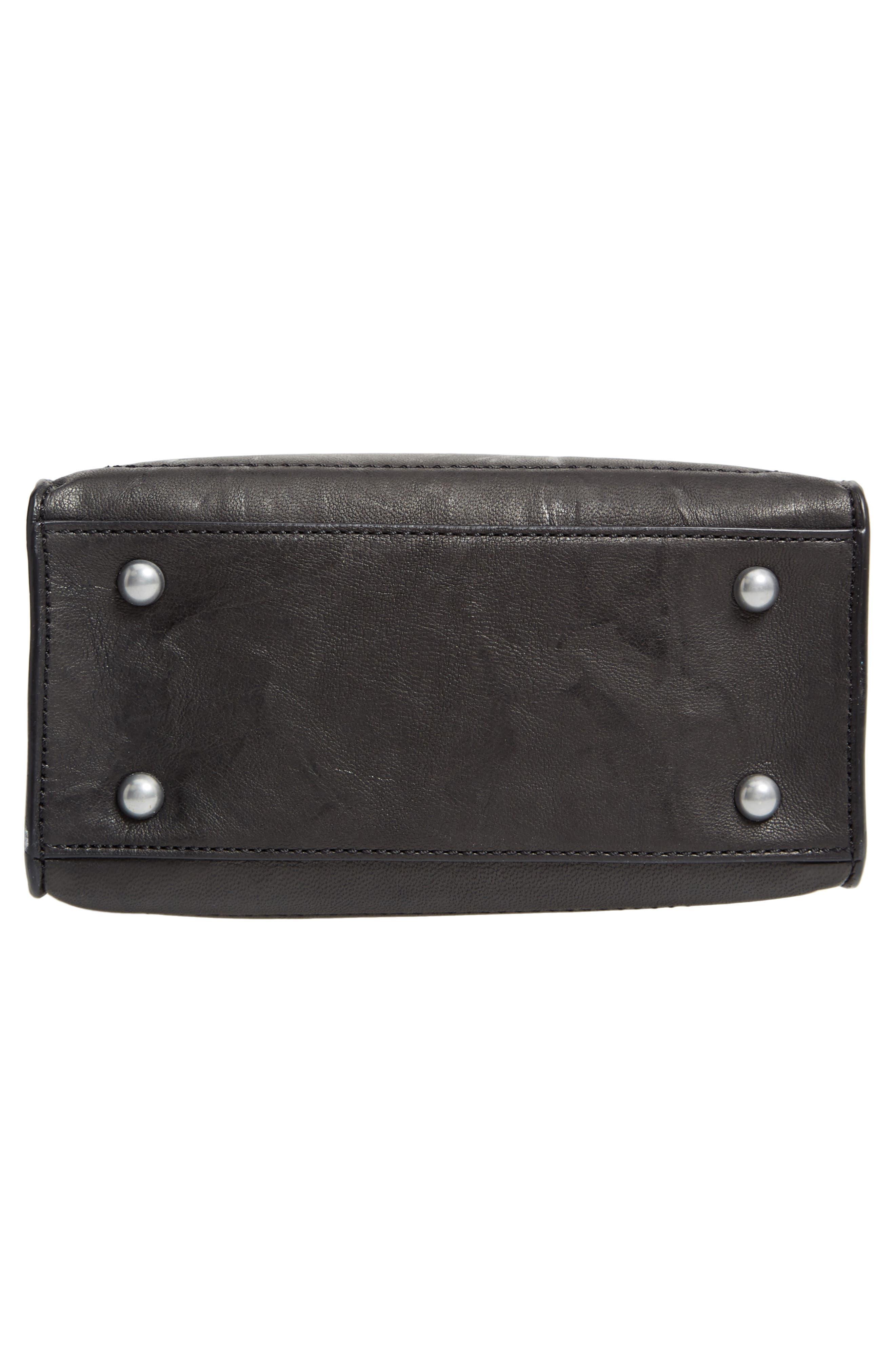 Mini Demi Leather Satchel,                             Alternate thumbnail 6, color,                             BLACK