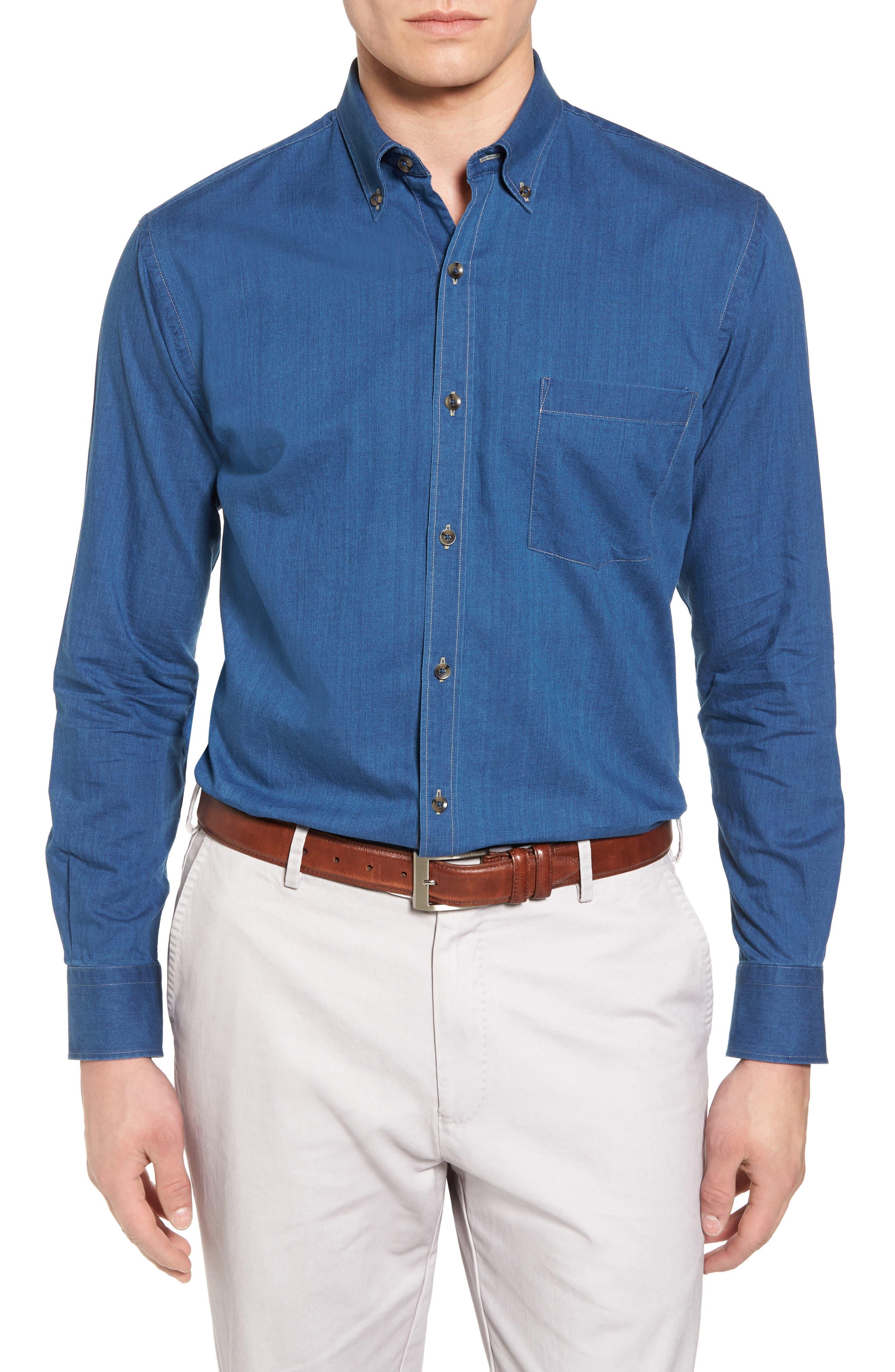 Crown Vintage Regular Fit Denim Sport Shirt,                             Main thumbnail 1, color,                             405