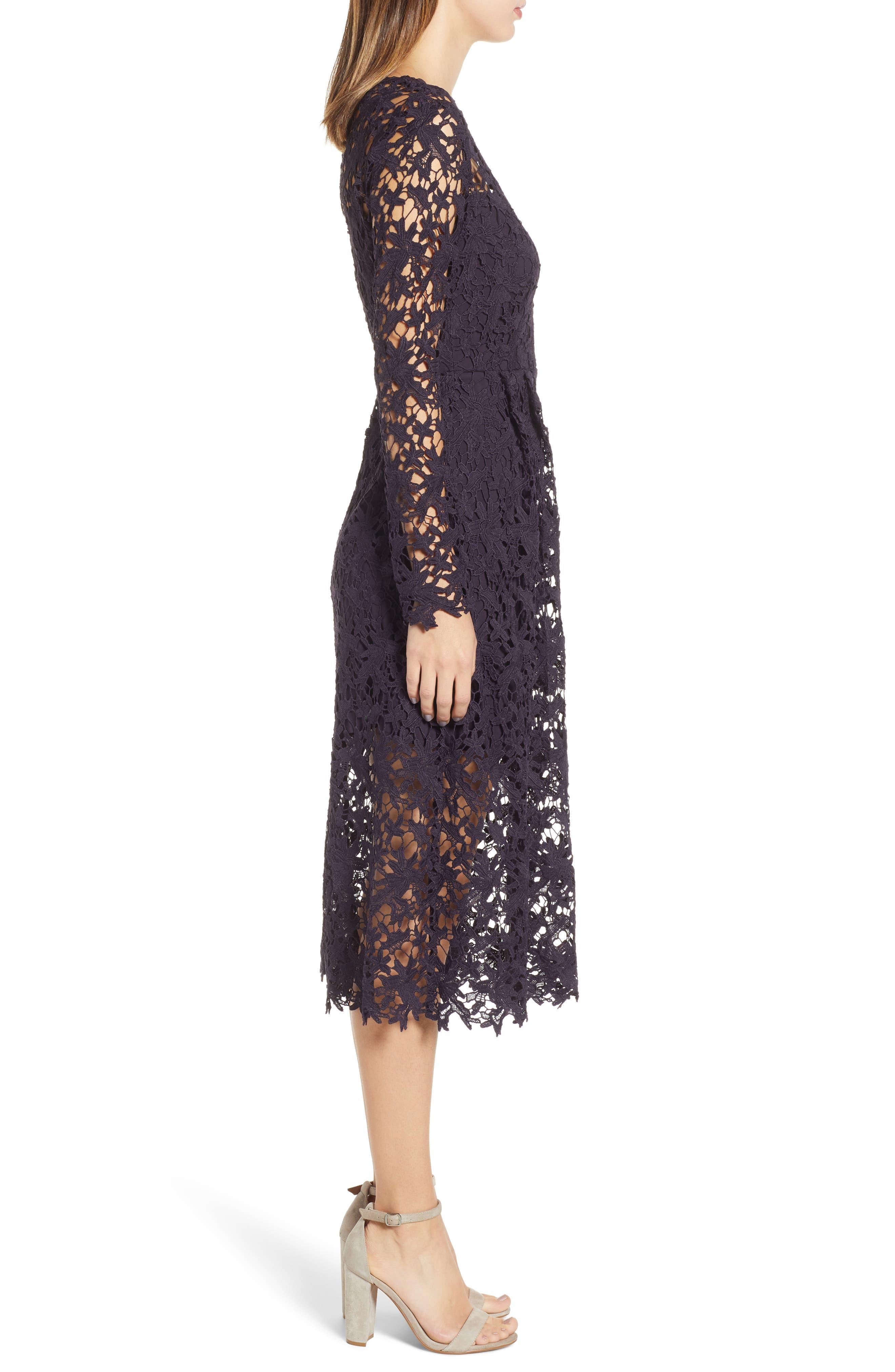 Lace Midi Dress,                             Alternate thumbnail 3, color,                             EGGPLANT