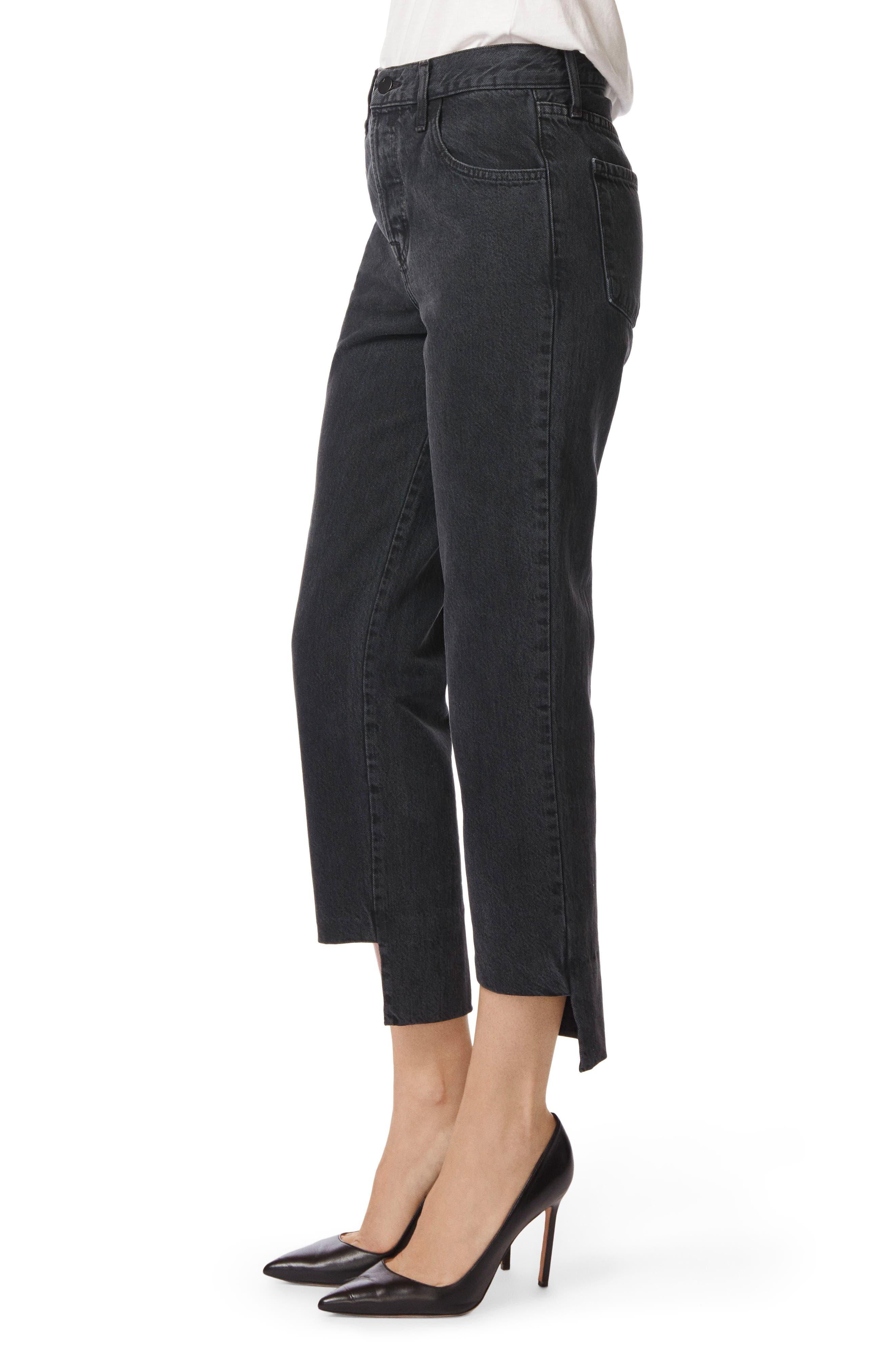 Wynne High Waist Crop Straight Leg Jeans,                             Alternate thumbnail 3, color,                             001