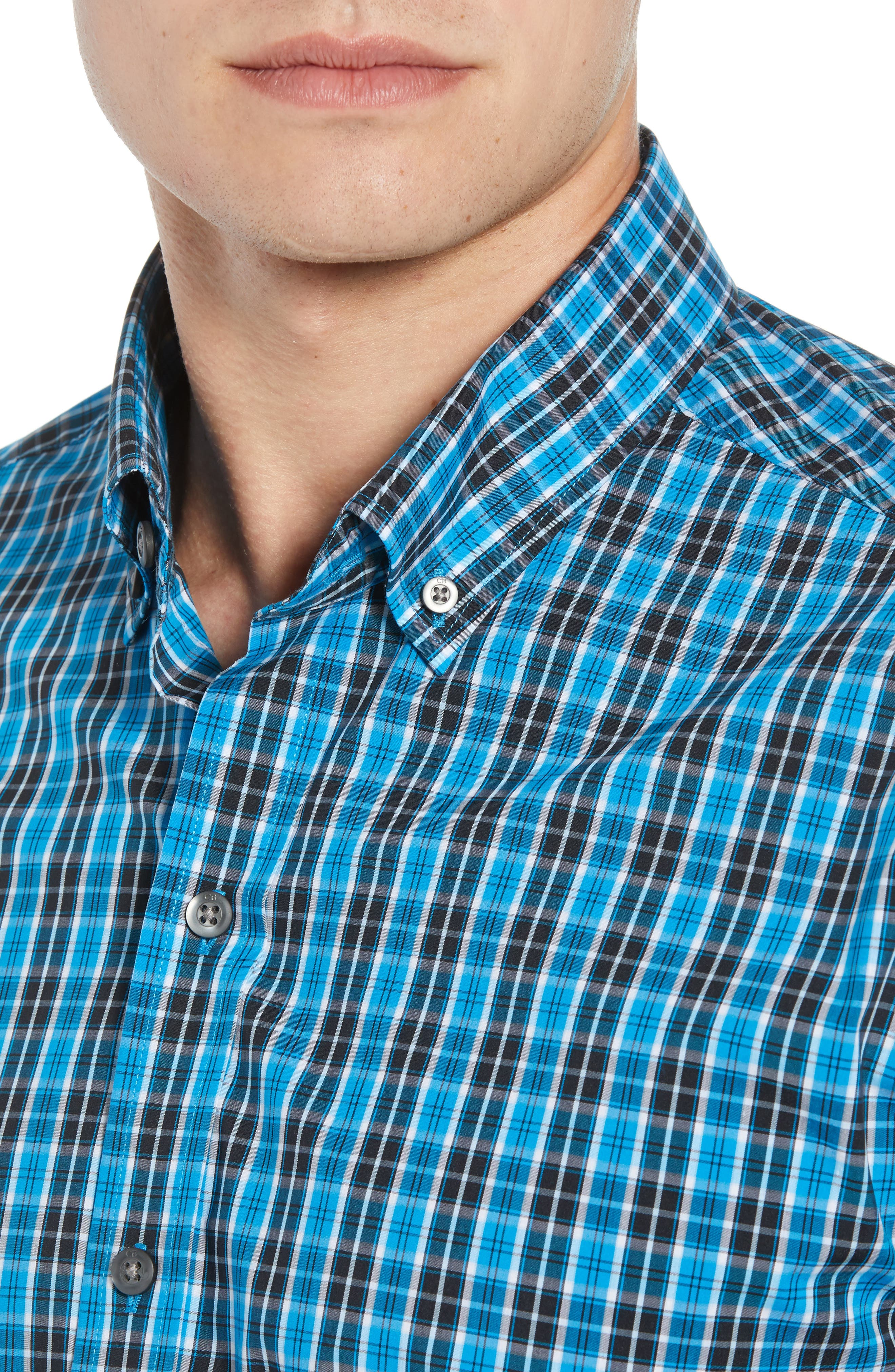 Ronald Regular Fit Plaid Performance Sport Shirt,                             Alternate thumbnail 2, color,                             ORBIT