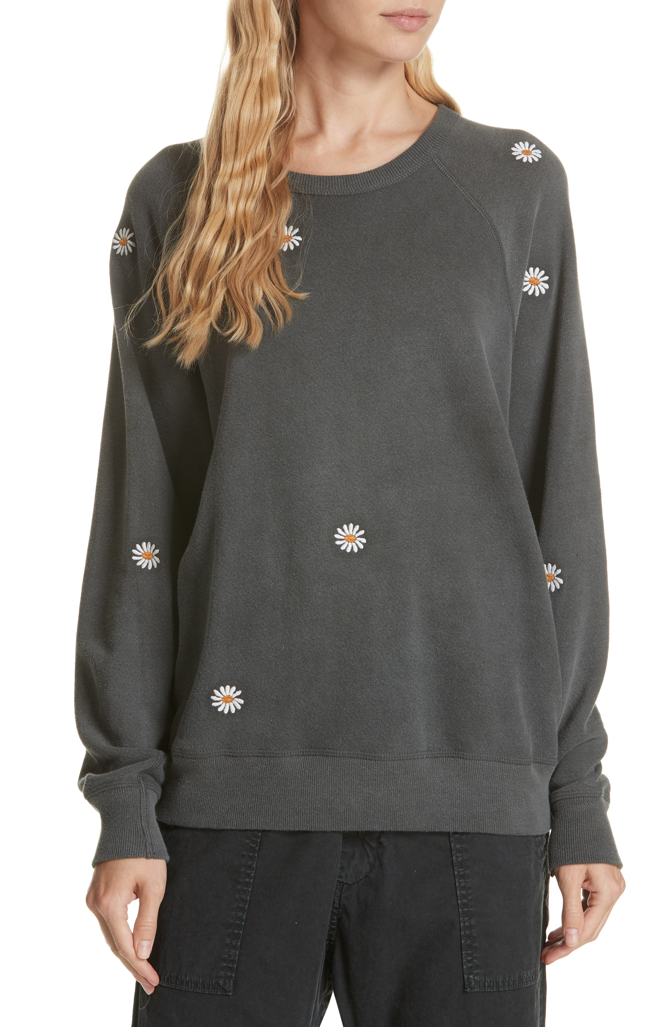 The Daisy Embroidered College Sweatshirt,                             Main thumbnail 1, color,                             001