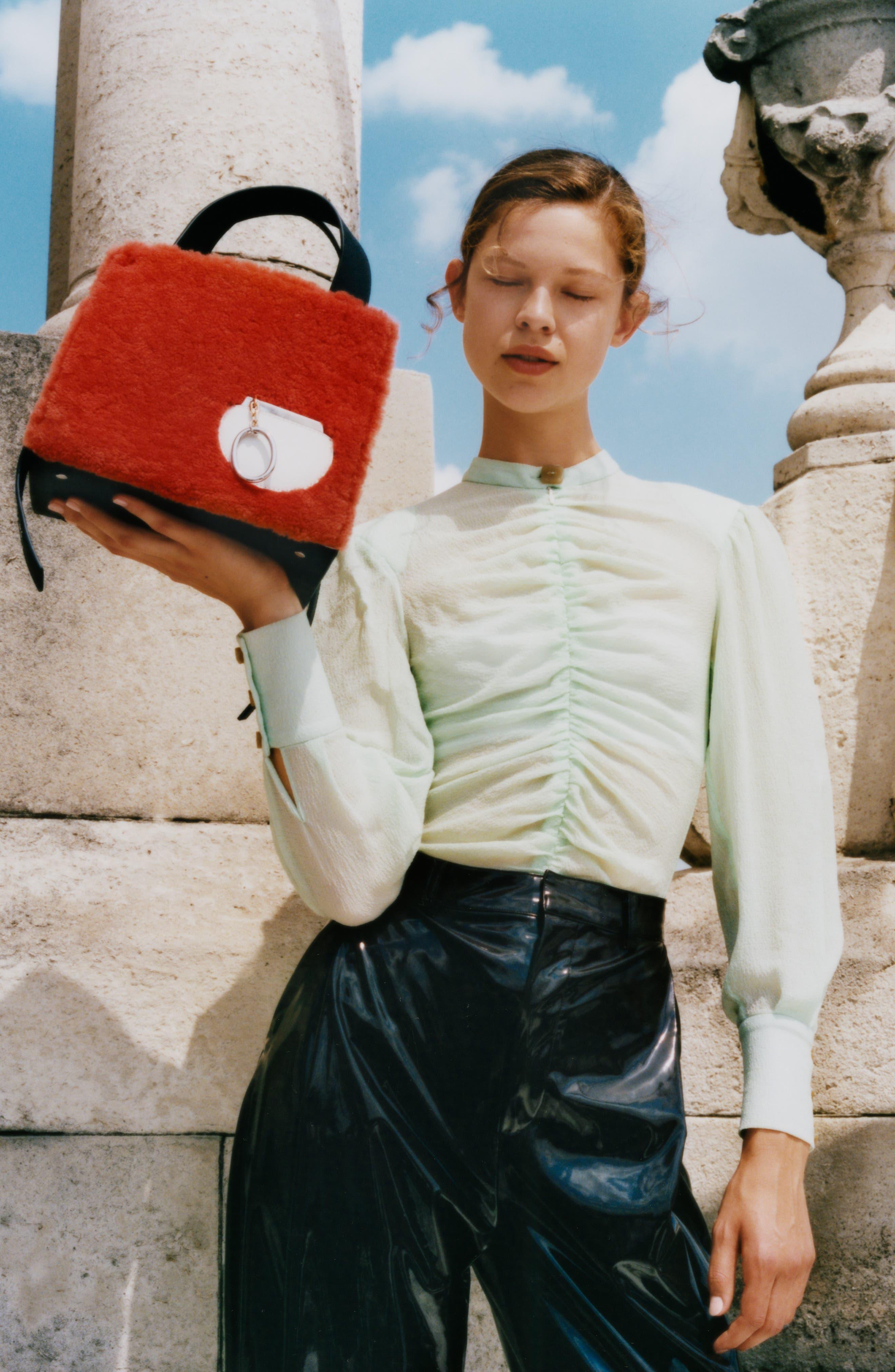 Margot Leather & Genuine Shearling Tote Bag,                             Alternate thumbnail 2, color,                             SHEARLING BRICK
