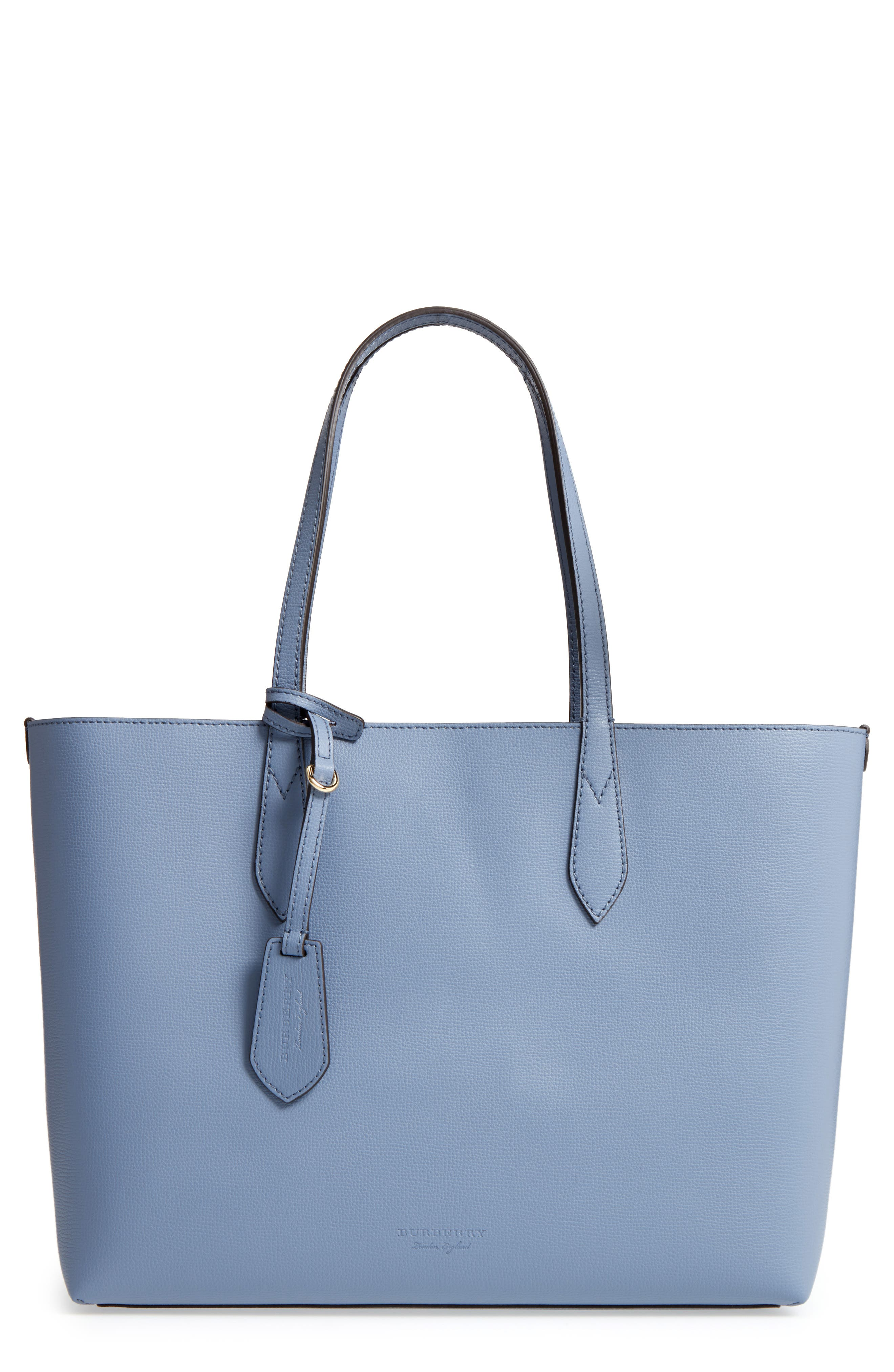 Medium Reversible Check & Leather Tote,                         Main,                         color, 427