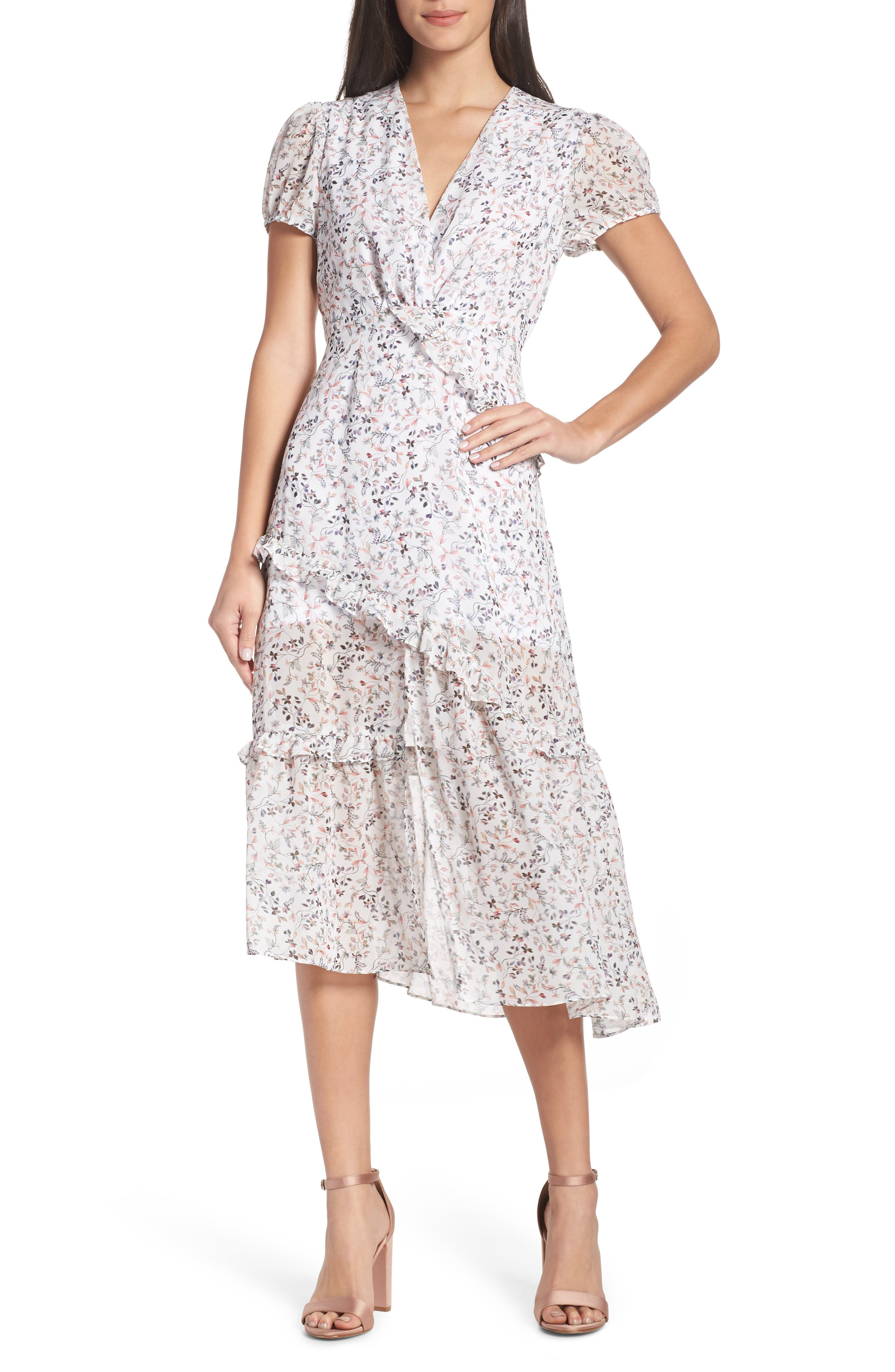 1920s Downton Abbey Dresses Womens Nsr Olivia Floral Ruffle Midi Dress $88.00 AT vintagedancer.com