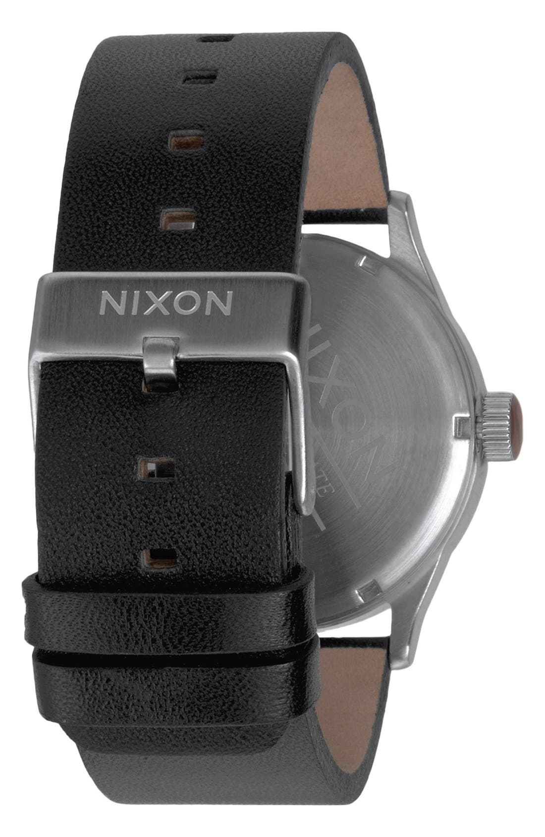 'The Sentry' Leather Watch, 42mm,                             Alternate thumbnail 4, color,                             BLACK/BLACK