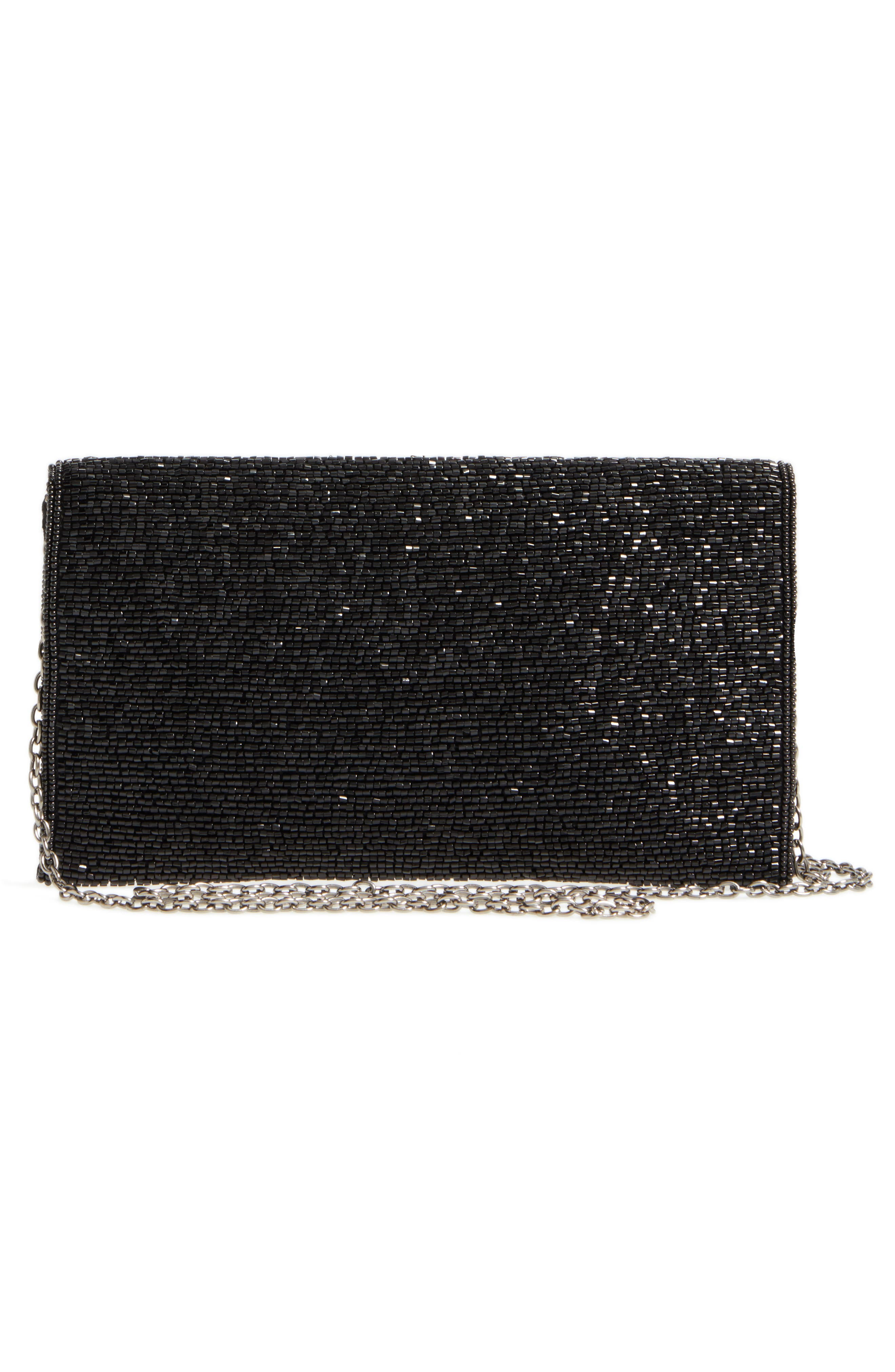 Alhambra Beaded Envelope Clutch,                             Alternate thumbnail 3, color,                             BLACK