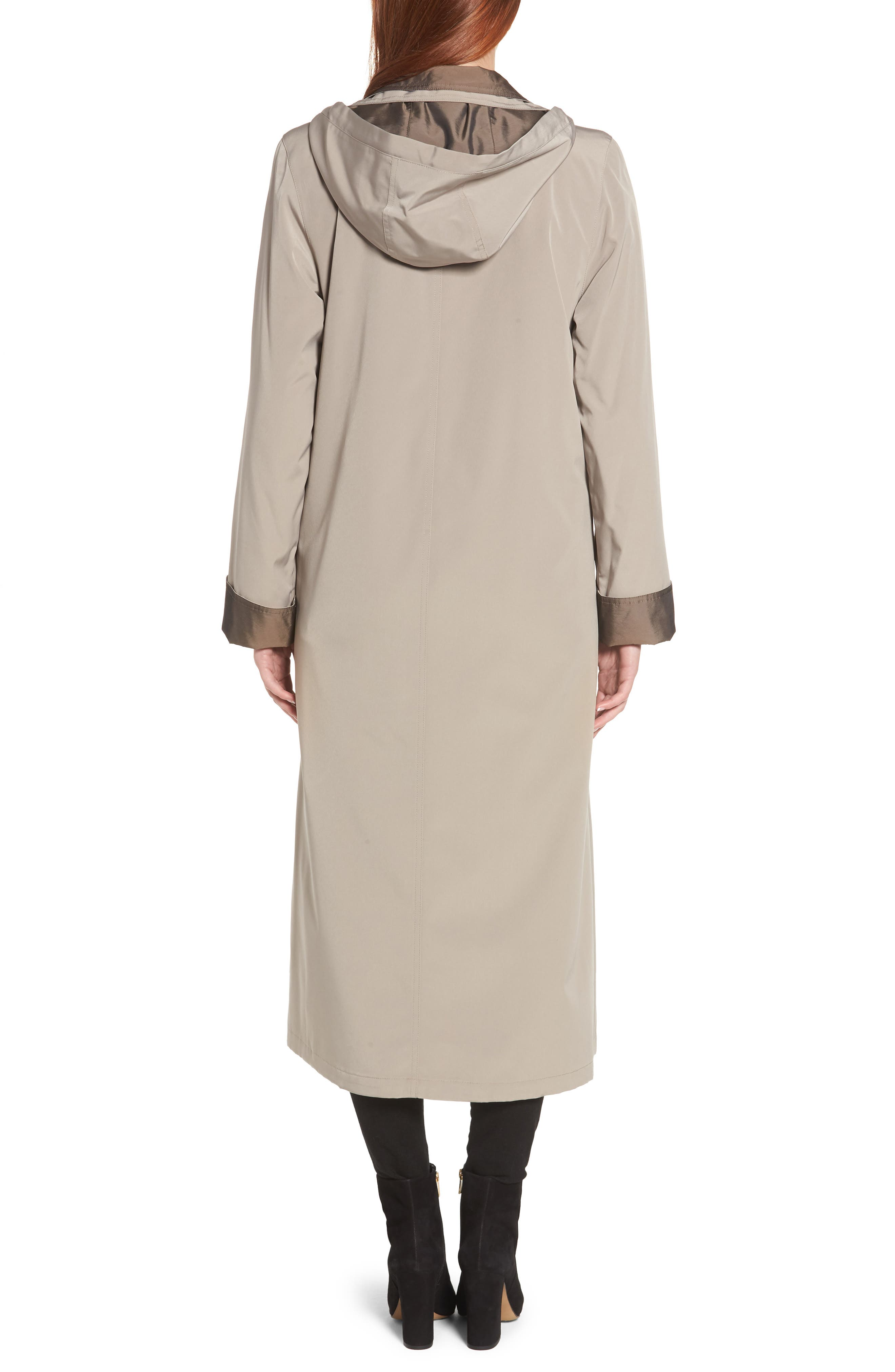 Full Length Two-Tone Silk Look Raincoat,                             Alternate thumbnail 2, color,                             MUSHROOM