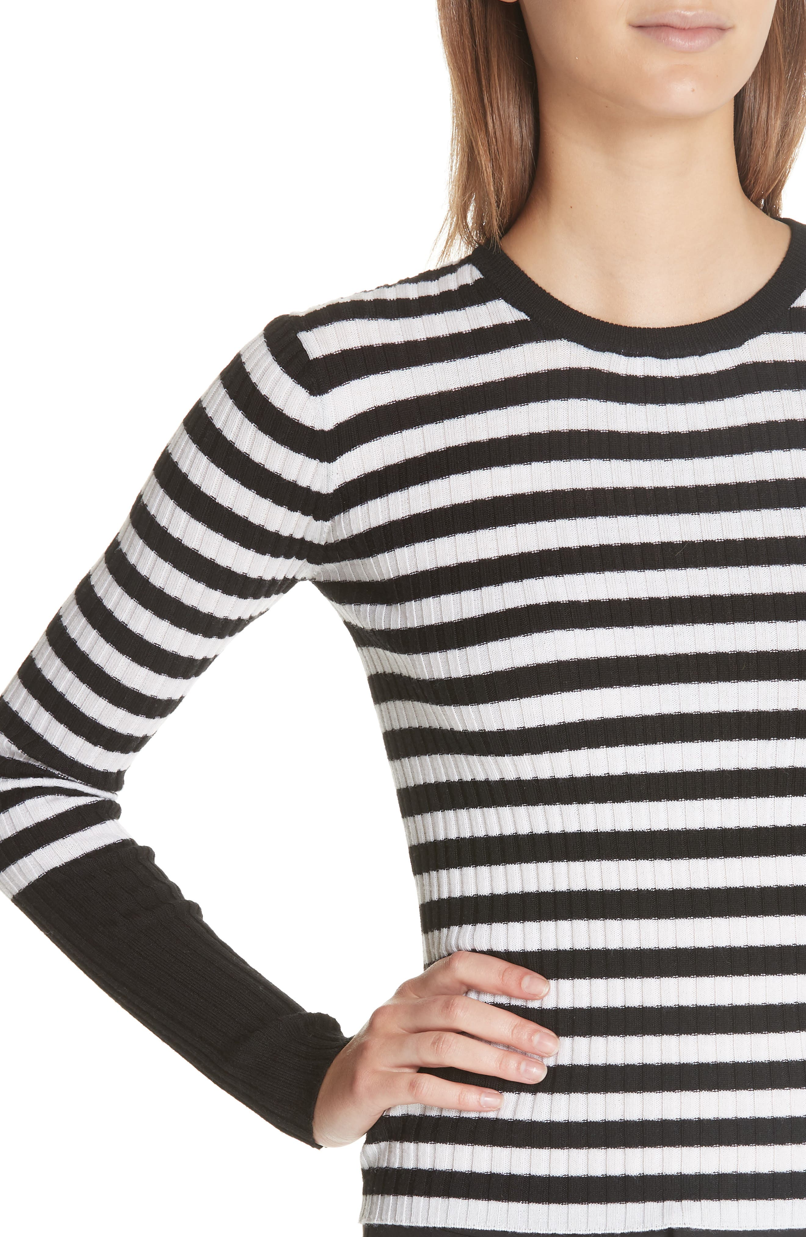 Stripe Rib Merino Wool Sweater,                             Alternate thumbnail 4, color,                             BLACK/ WHITE STRIPE