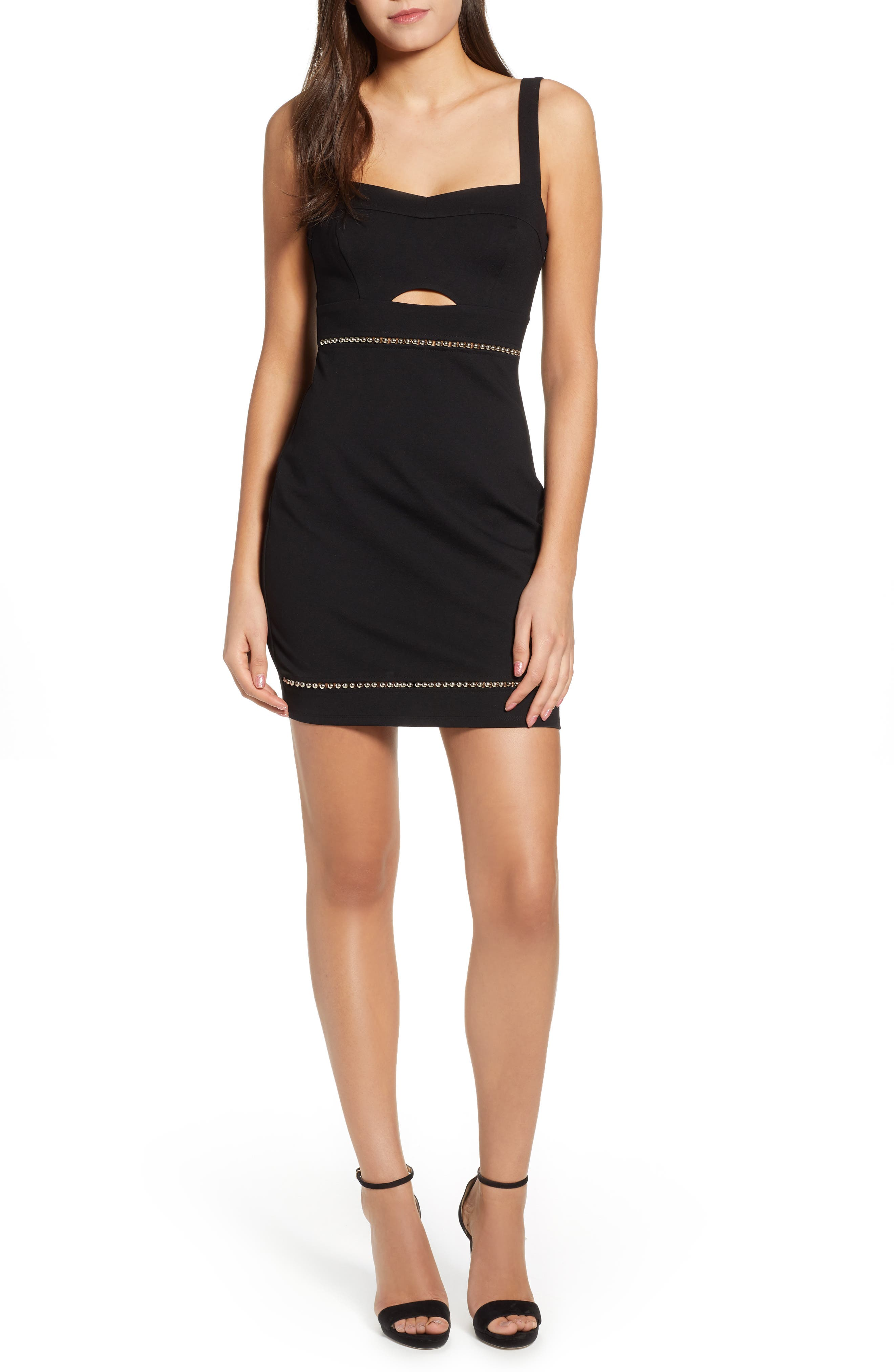 Astr The Label Beaded Body-Con Dress, Black