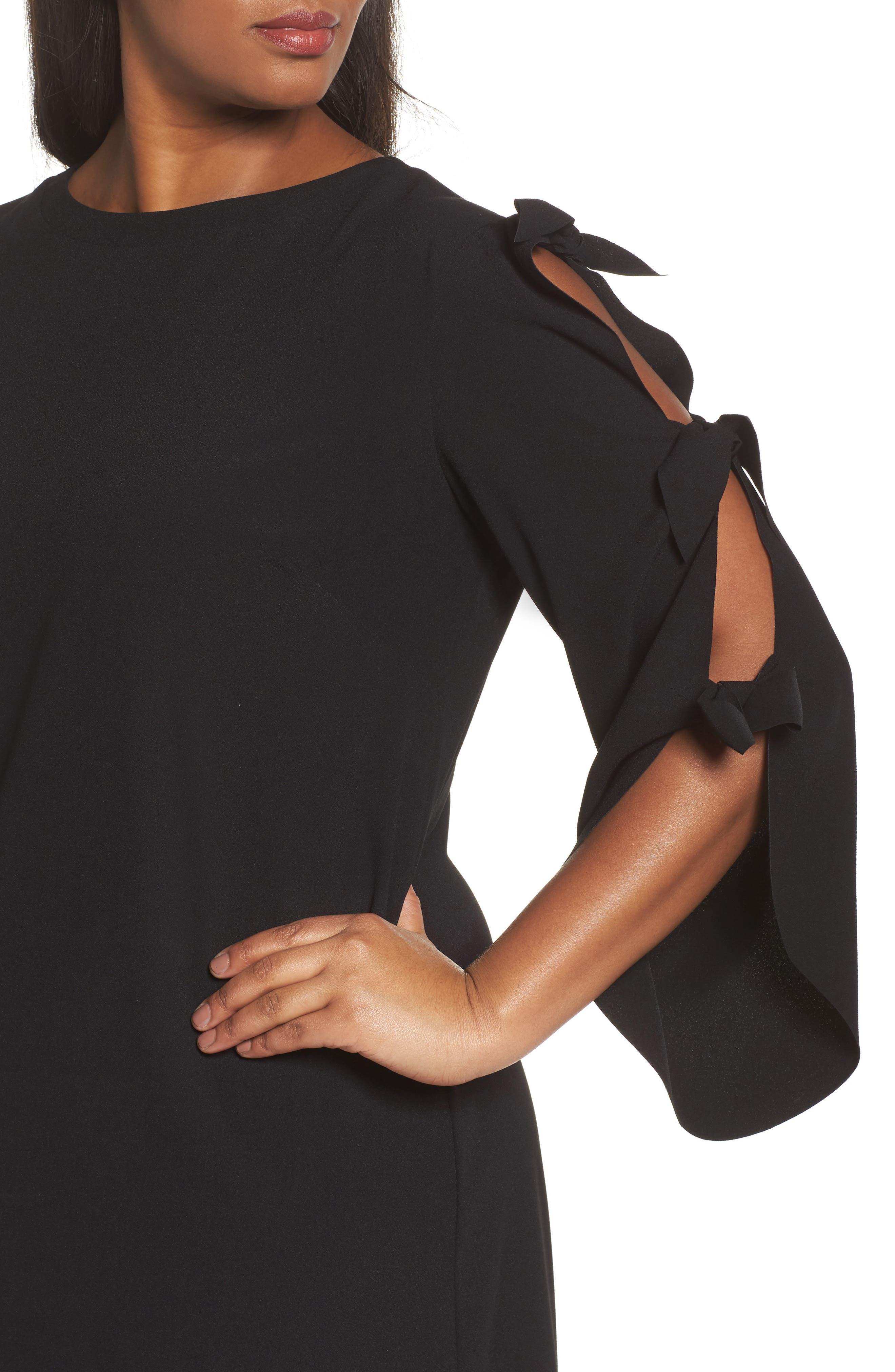 Split Tie Sleeve Shift Dress,                             Alternate thumbnail 4, color,                             001