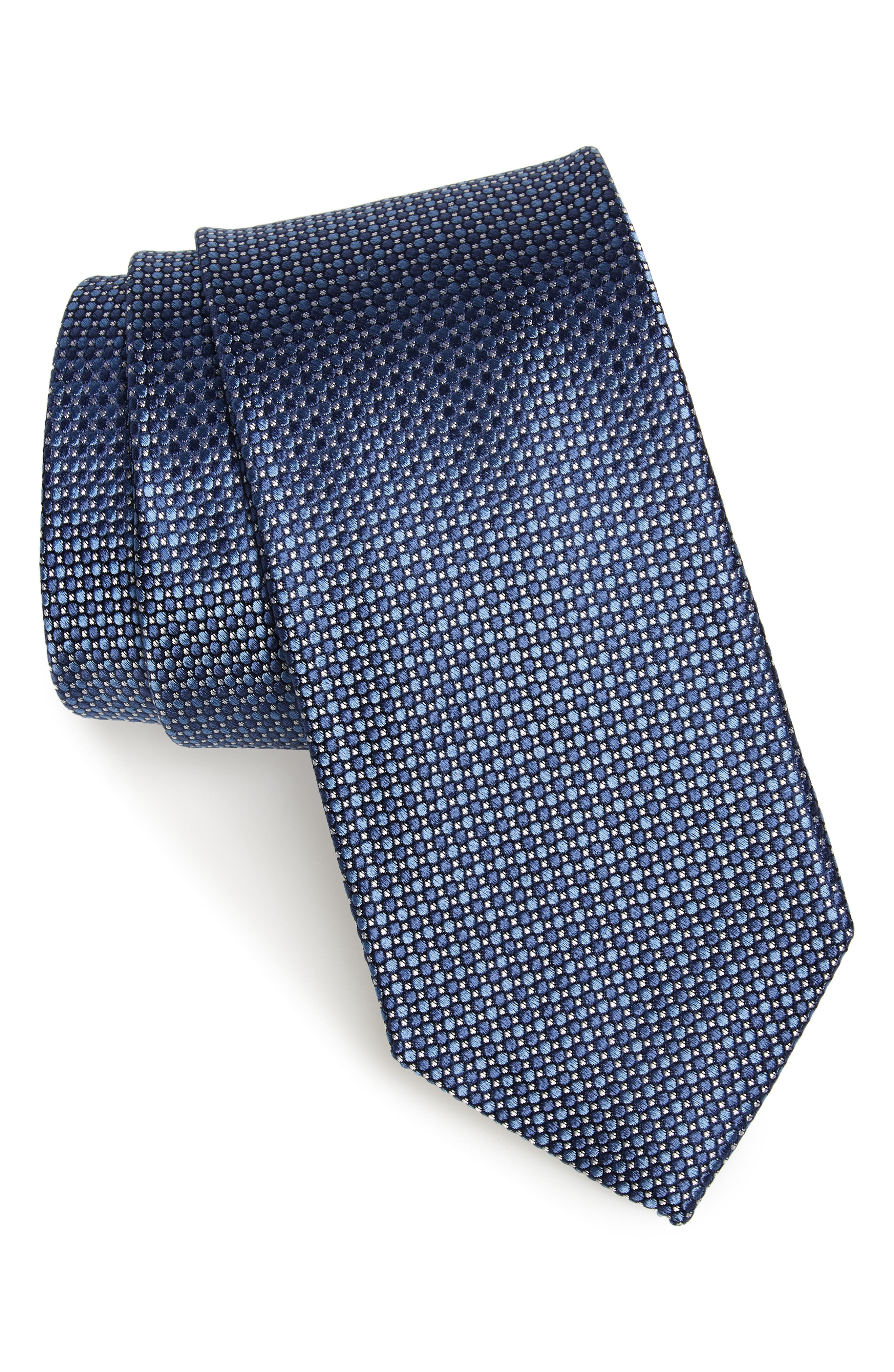 Soler Solid Silk Tie,                         Main,                         color, NAVY