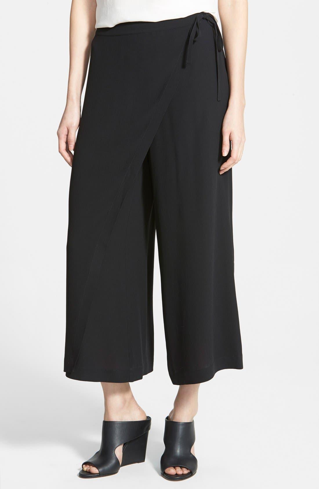 women's eileen fisher wrap front wide leg silk crop pants, size xx-small - black