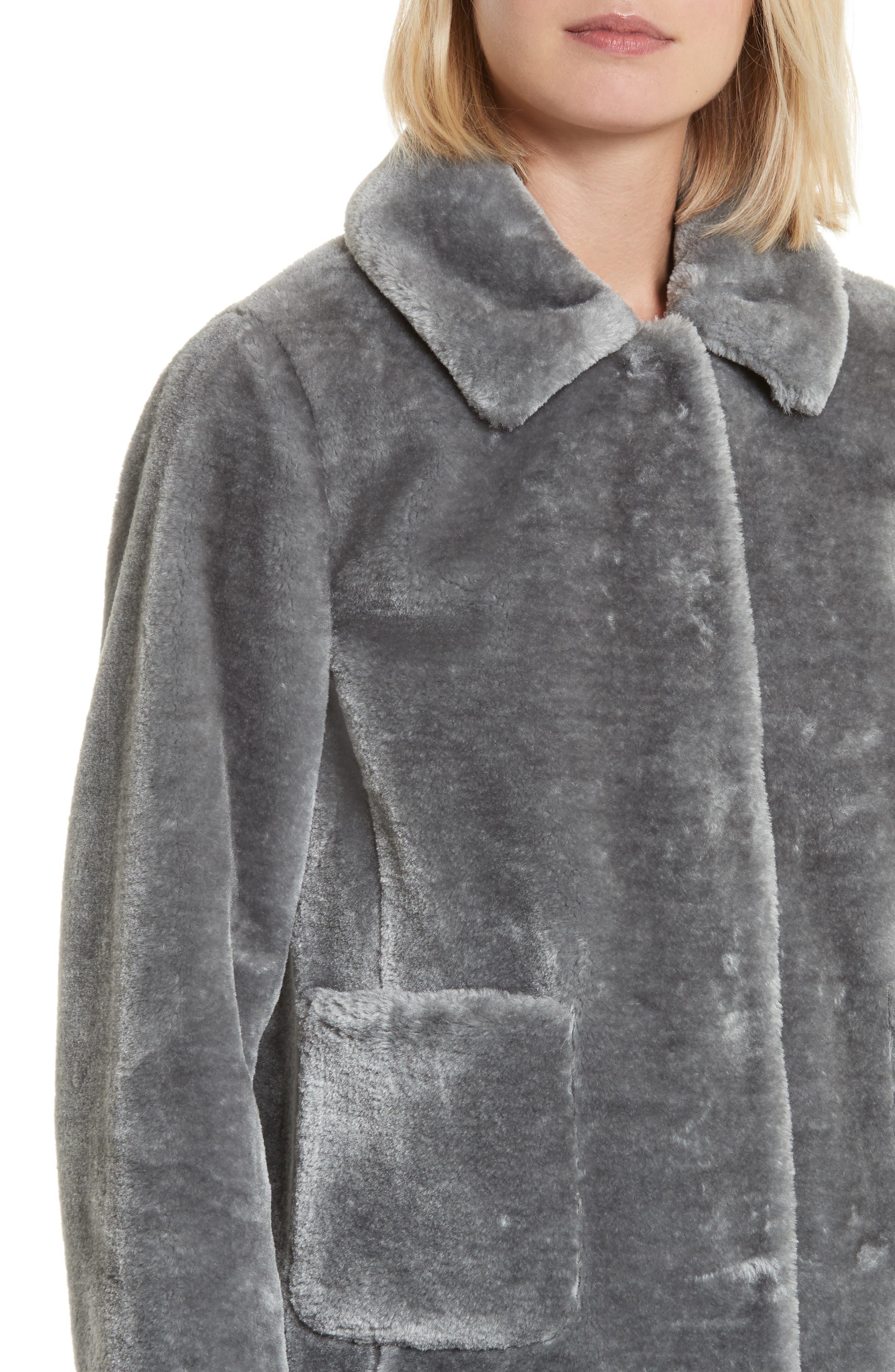 Faux Fur Jacket,                             Alternate thumbnail 4, color,                             063