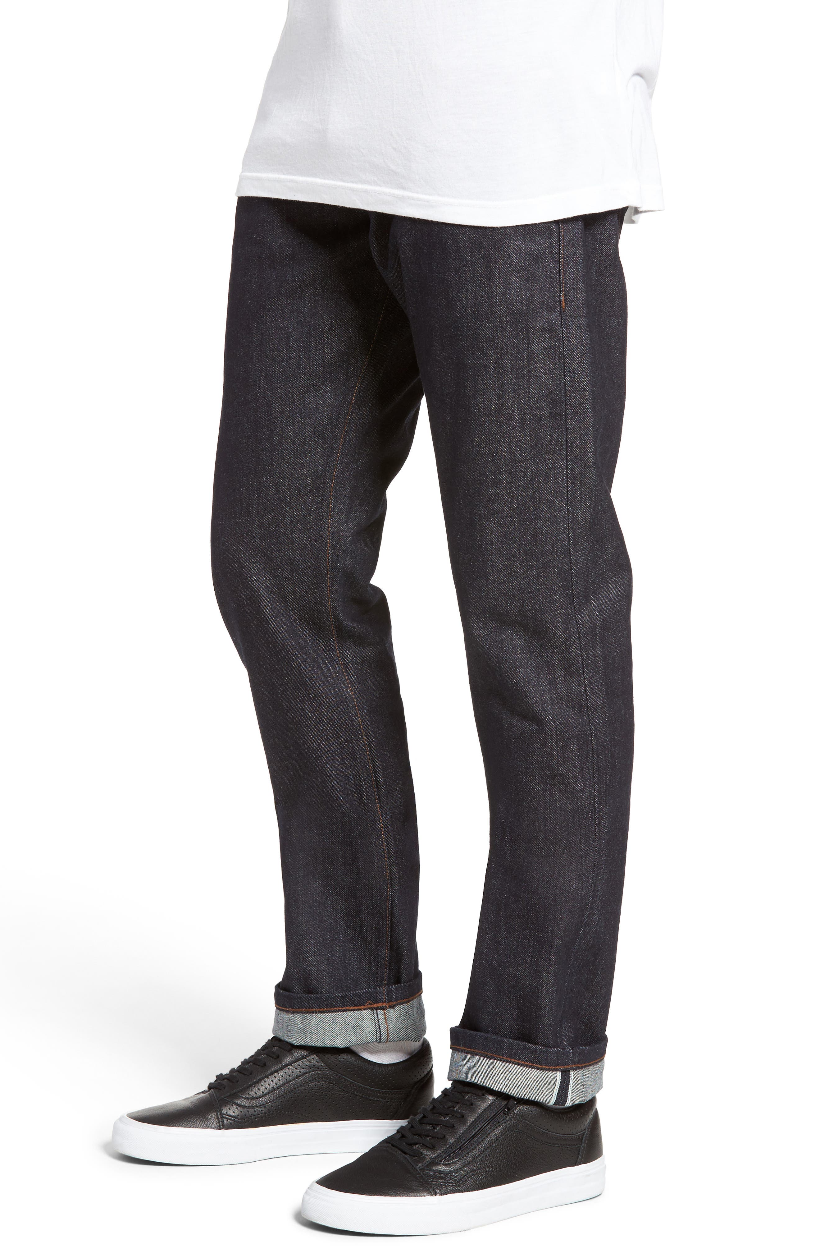 UB201 Tapered Fit Raw Selvedge Jeans,                             Alternate thumbnail 4, color,                             INDIGO