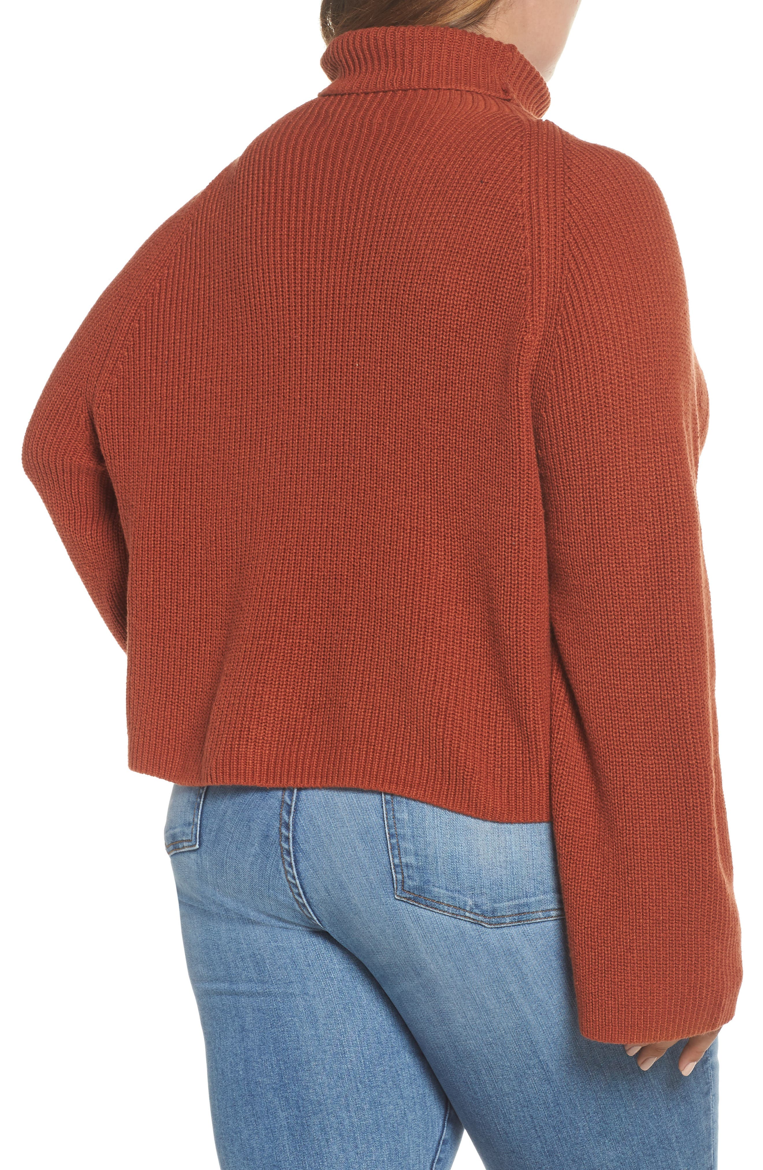Transfer Stitch Turtleneck Sweater,                             Alternate thumbnail 8, color,                             BROWN SPICE