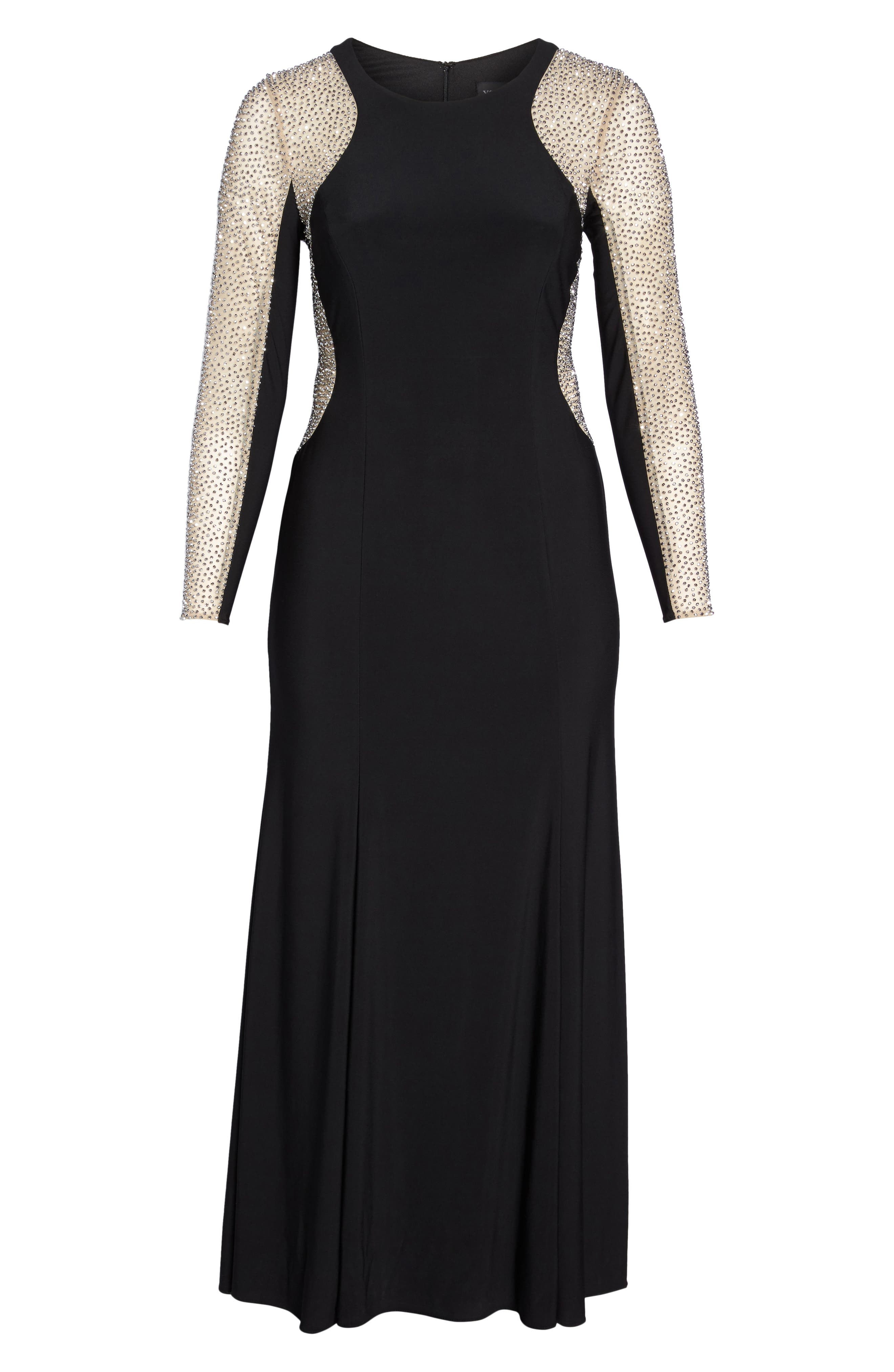 XSCAPE,                             Embellished Jersey Gown,                             Alternate thumbnail 7, color,                             BLACK/ NUDE/ SILVER